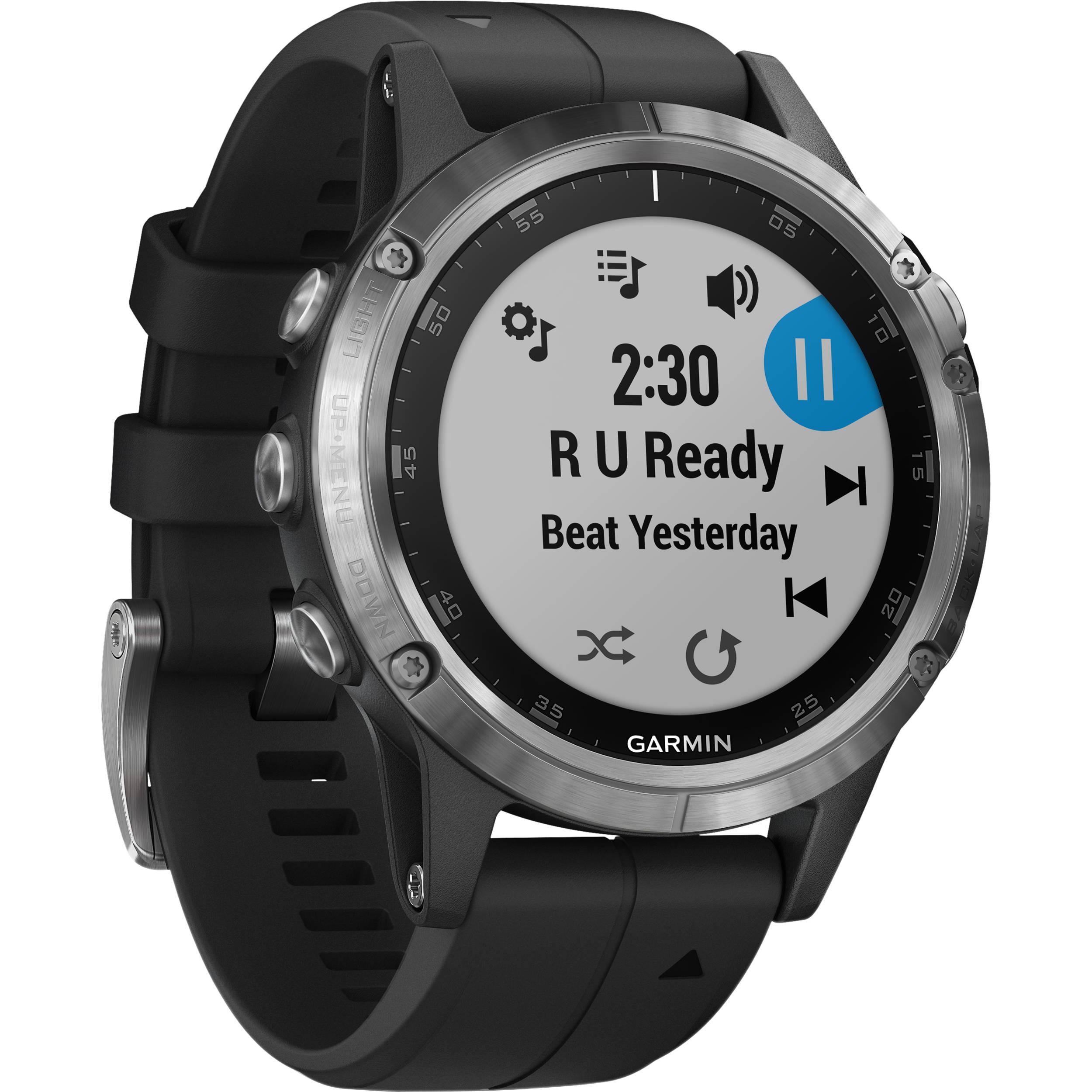 Garmin fenix 5 Plus Multi-Sport Training GPS Watch (47mm, Silver with Black  Band)