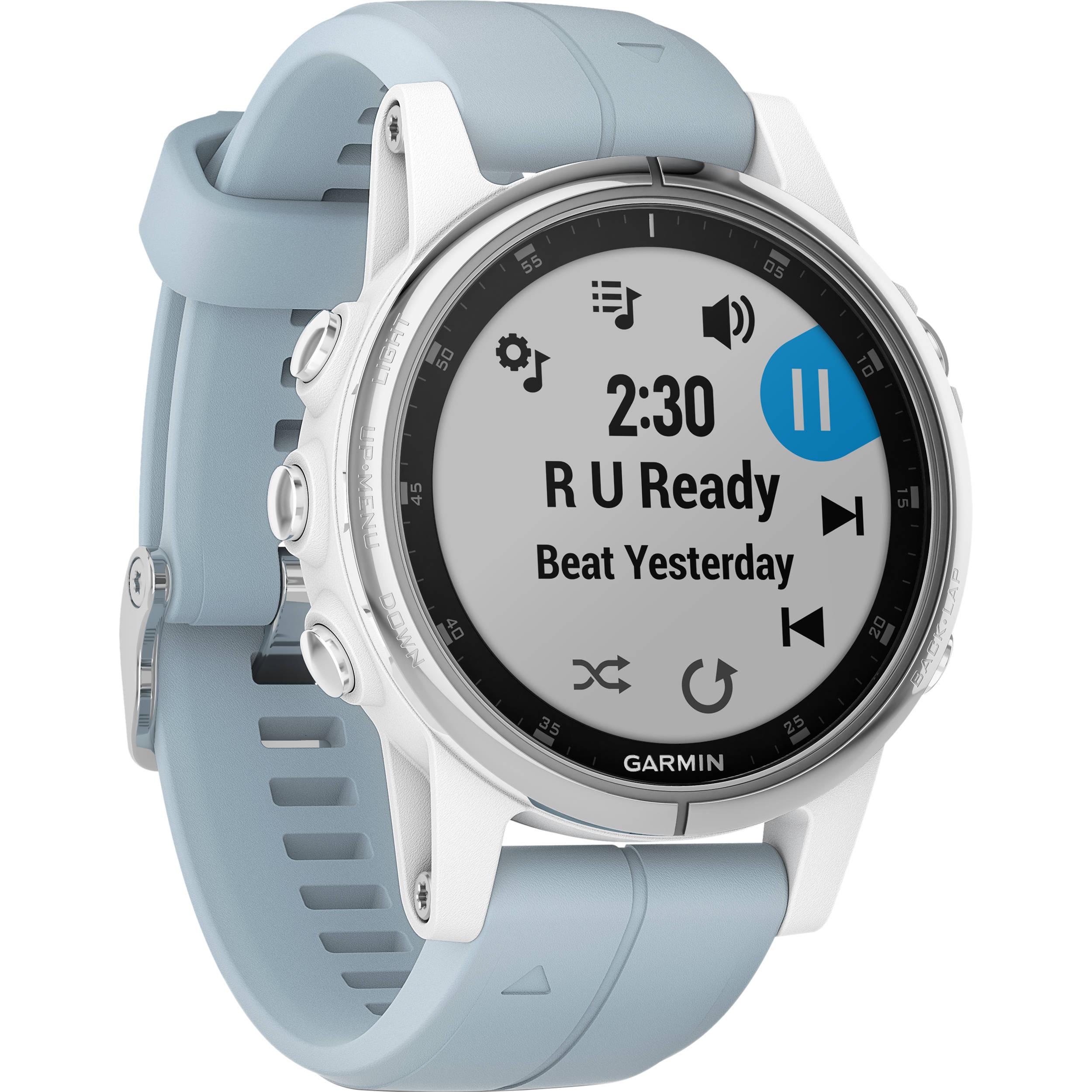 Garmin fenix 5S Plus Multi-Sport Training GPS Watch (42mm, White with Sea  Foam Band)