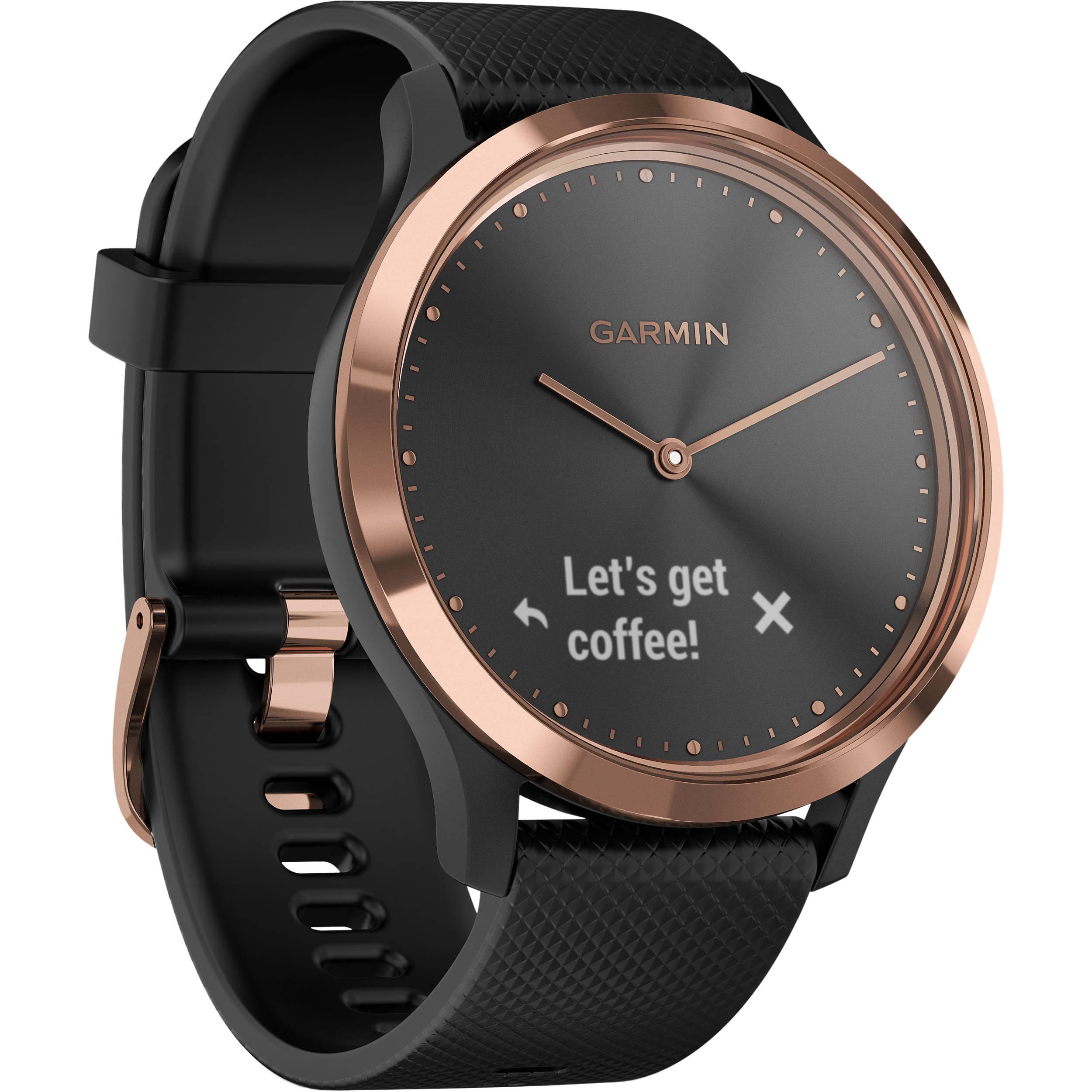Garmin vivomove HR Sport Watch (Small/Medium, Rose Gold with Black Silicone  Band)