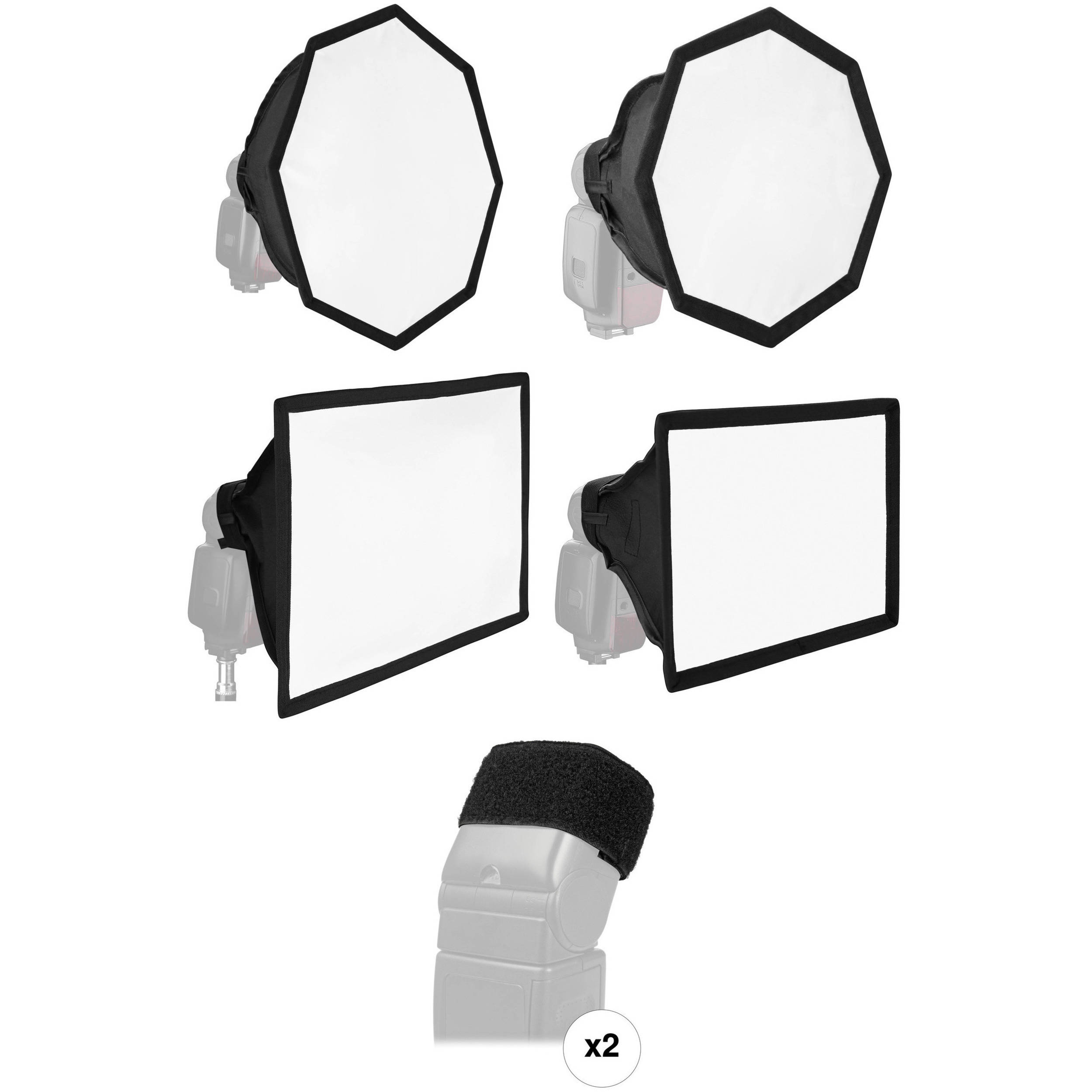2 Pack Large, 8 x 12 Vello Softbox for Portable Flash