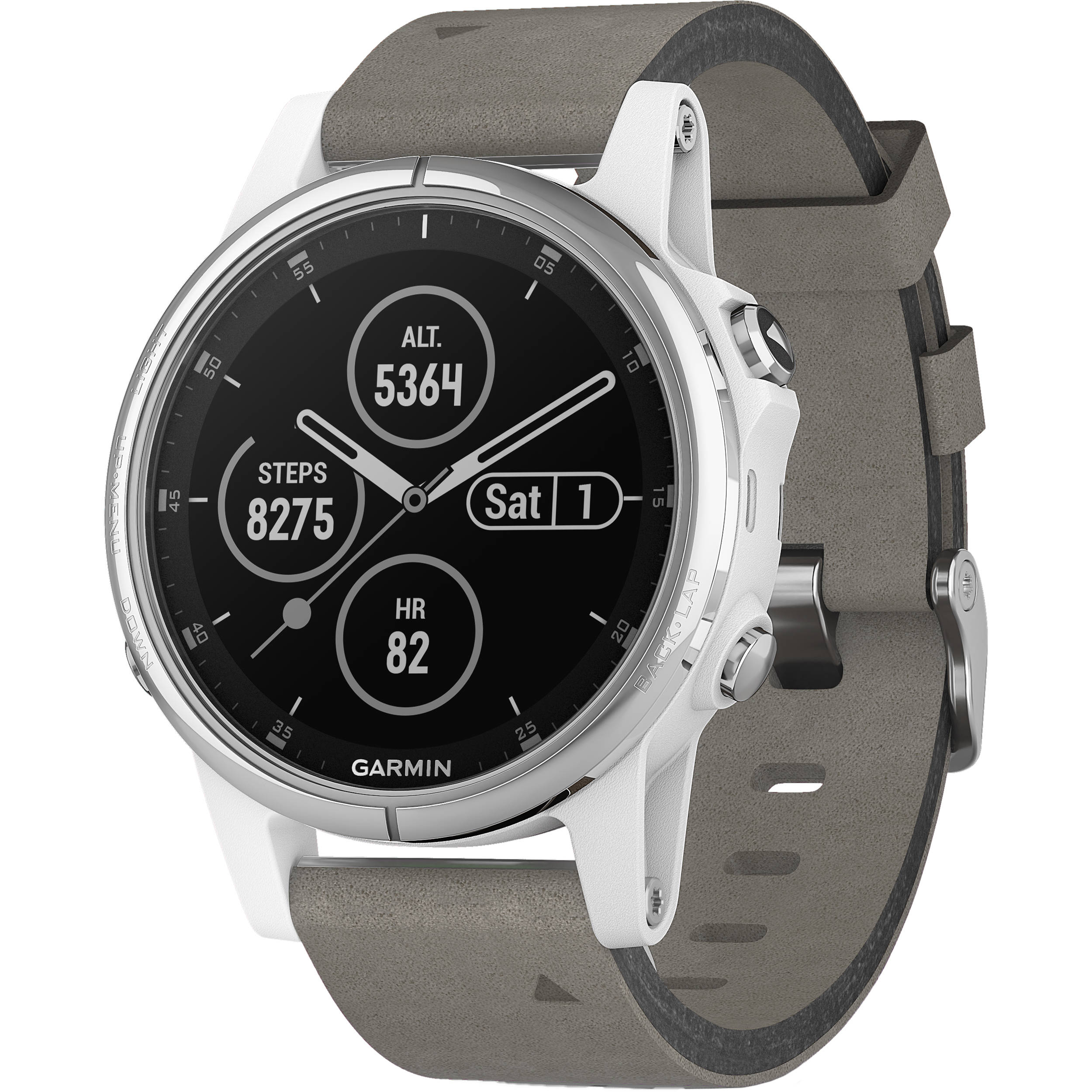 Garmin fenix 5S Plus Sapphire Edition Multi-Sport Training GPS Watch (42mm,  White with Gray Suede Band)