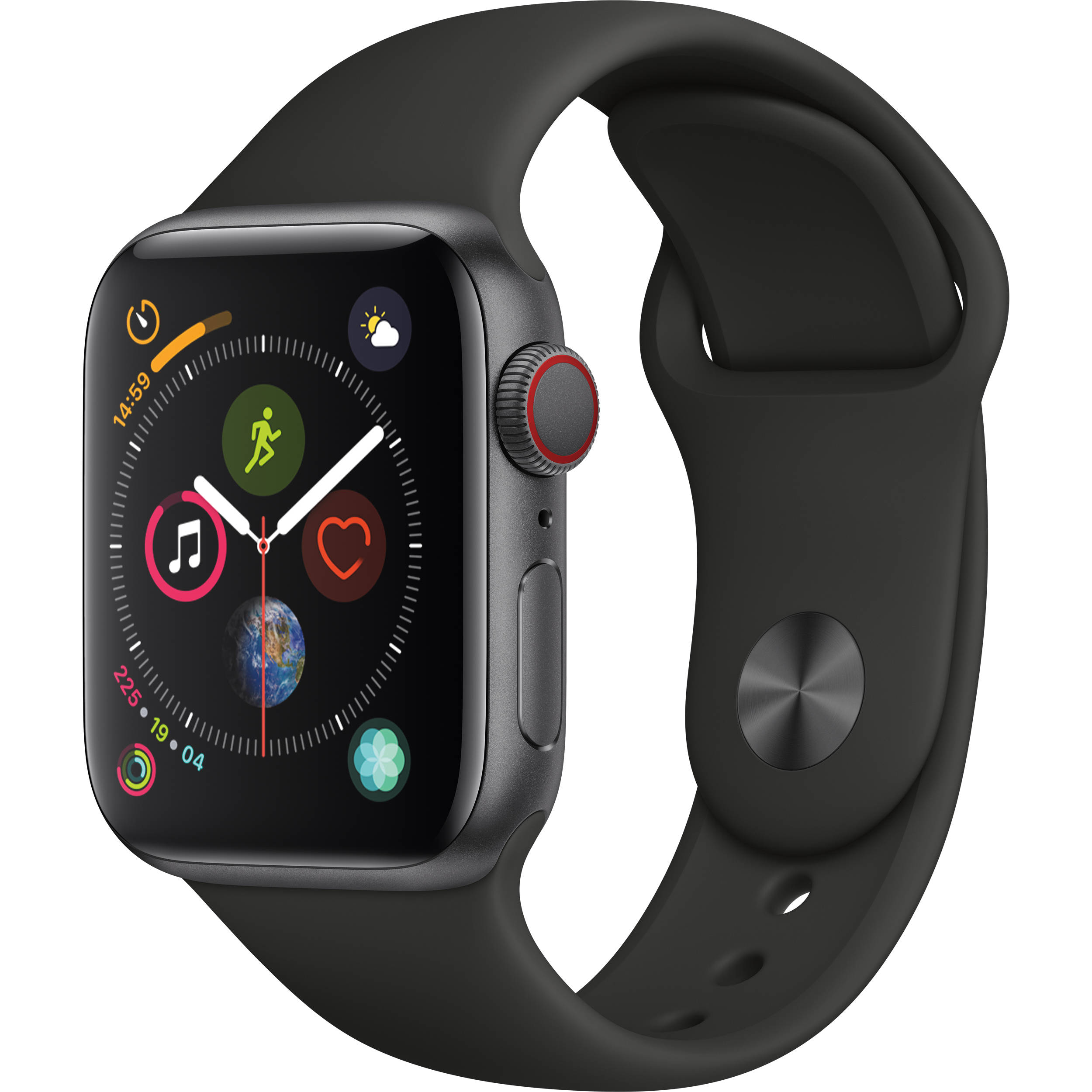 Apple Watch Series 4 (GPS + Cellular, 40mm, Space Gray Aluminum, Black  Sport Band)