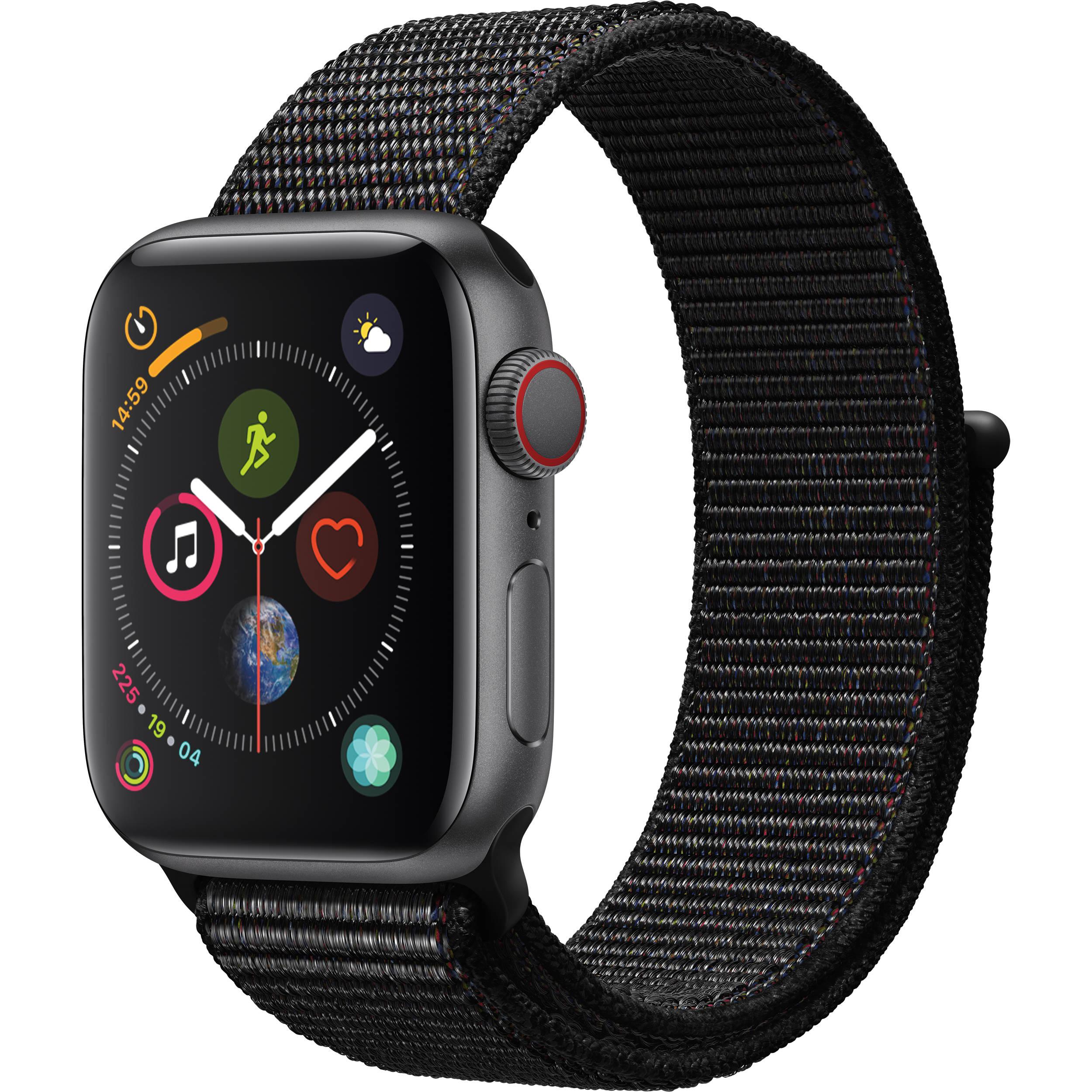 Apple Watch Series 4 (GPS + Cellular, 40mm, Space Gray Aluminum, Black  Sport Loop)
