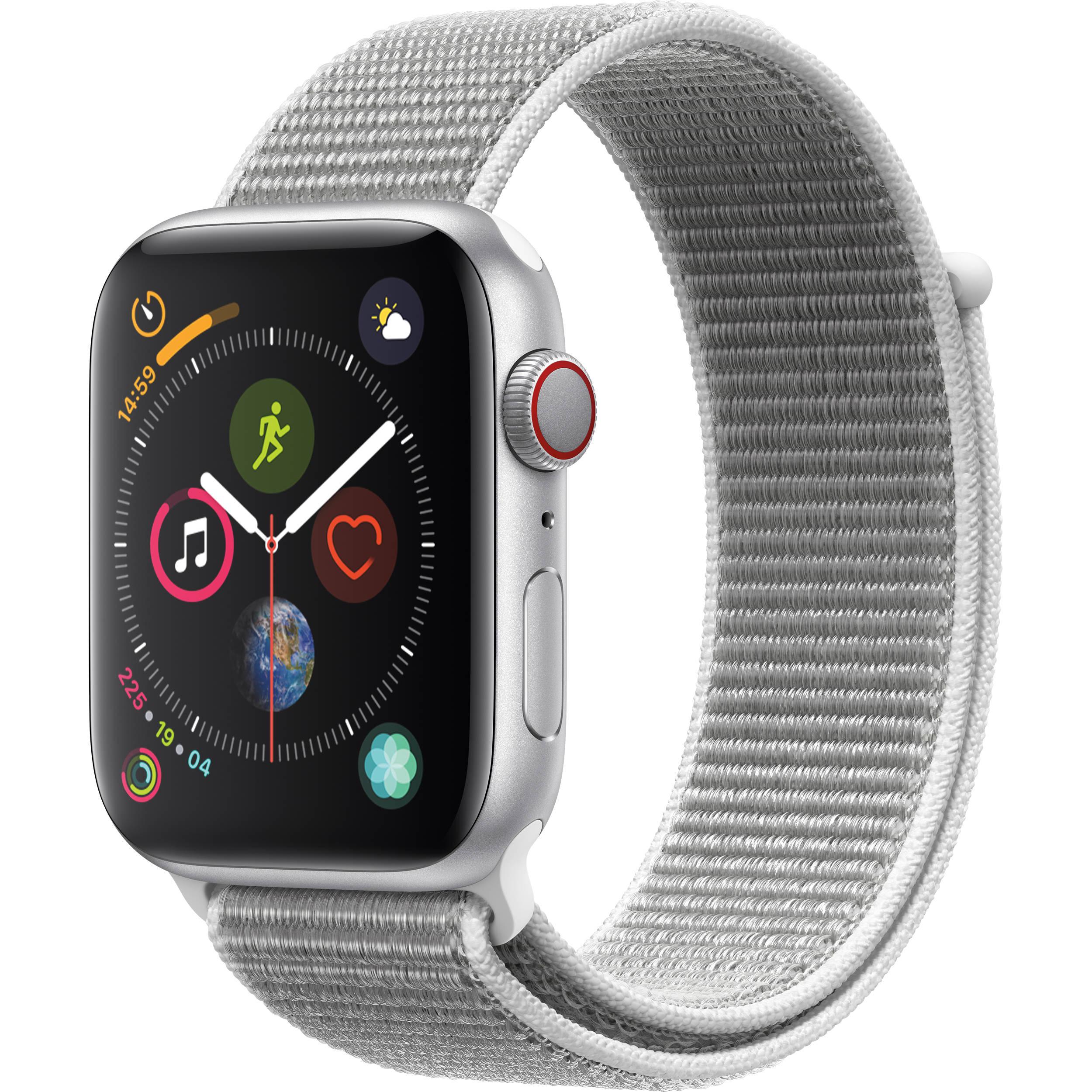 newest c671b ecc9c Apple Watch Series 4 (GPS + Cellular, 44mm, Silver Aluminum, Seashell Sport  Loop)