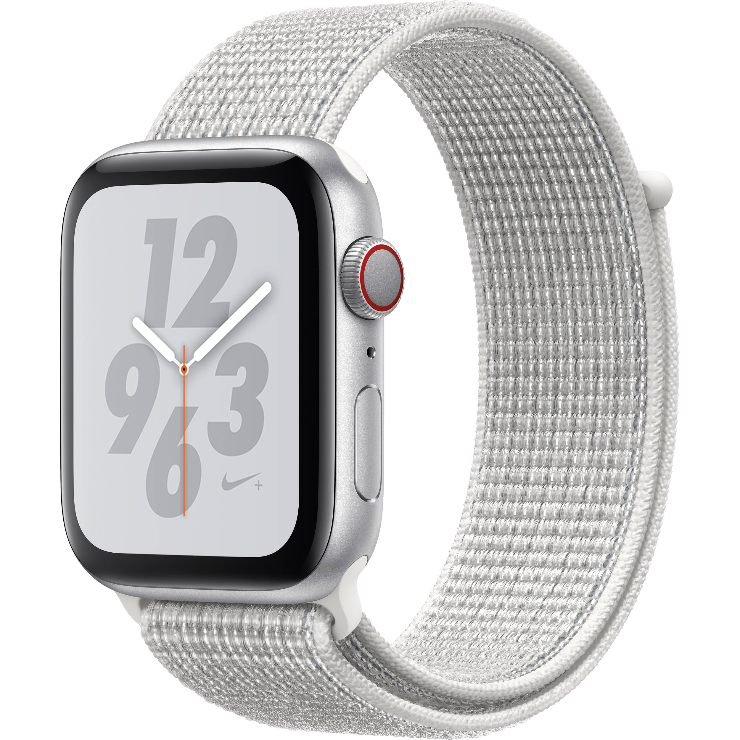 half off bcafa 2bec3 Apple Watch Nike+ Series 4 (GPS + Cellular, 44mm, Silver Aluminum, Summit  White Nike Sport Loop)
