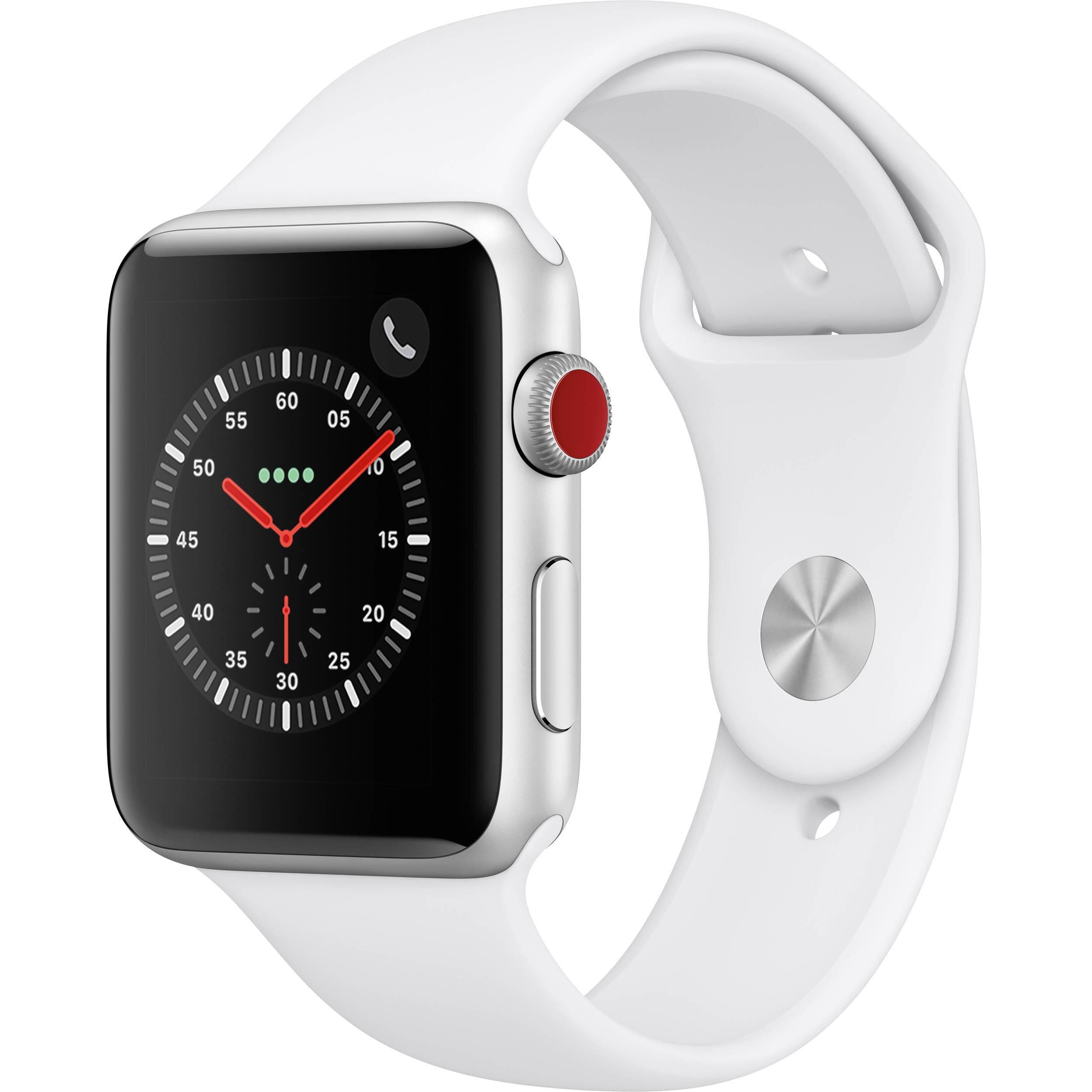 finest selection 06438 e4de8 Apple Watch Series 3 42mm Smartwatch (GPS + Cellular, Silver Aluminum Case,  White Sport Band)