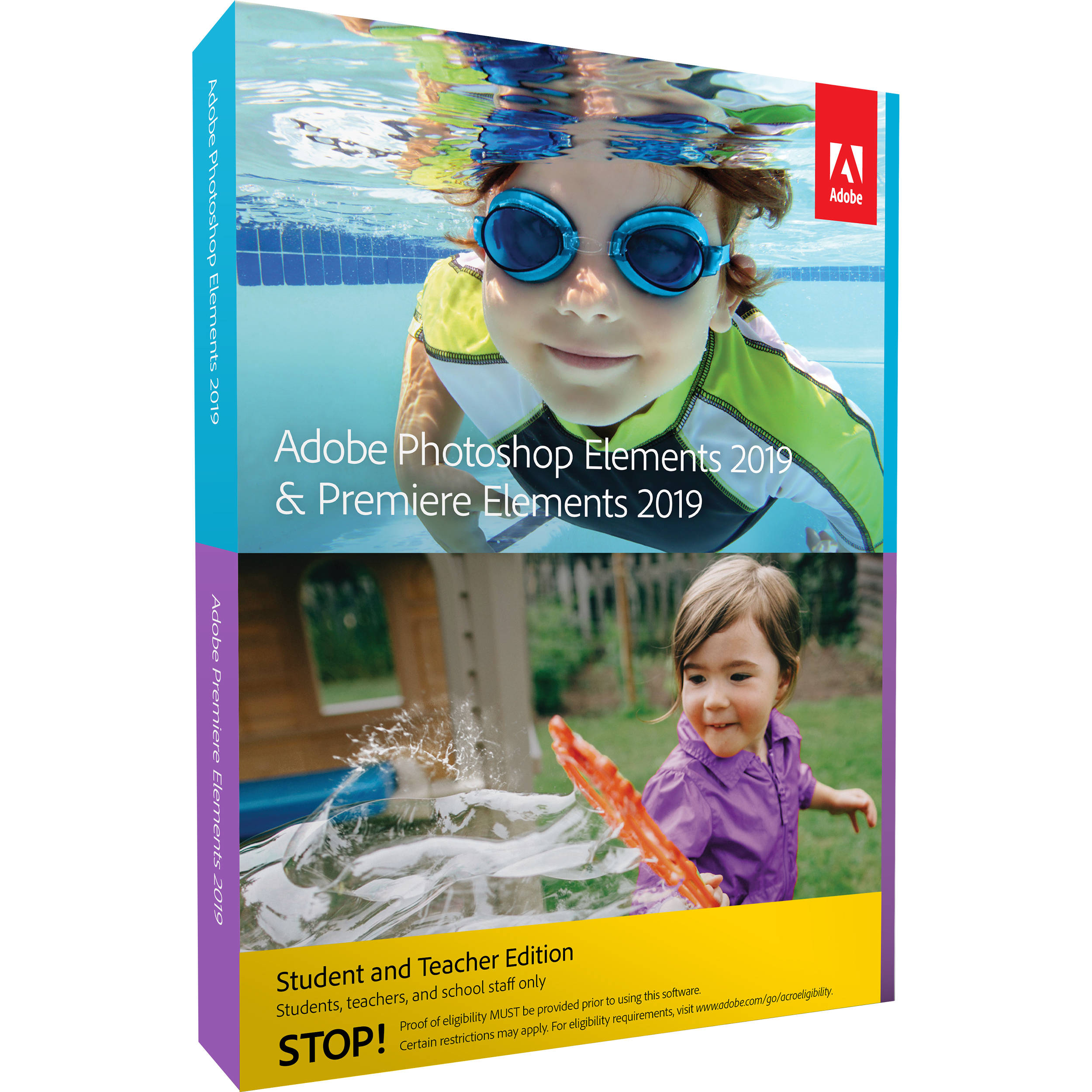 Adobe Photoshop Elements 2019 & Premiere Elements 2019 (DVD/Download Code,  Mac and Windows, Student & Teacher Edition)