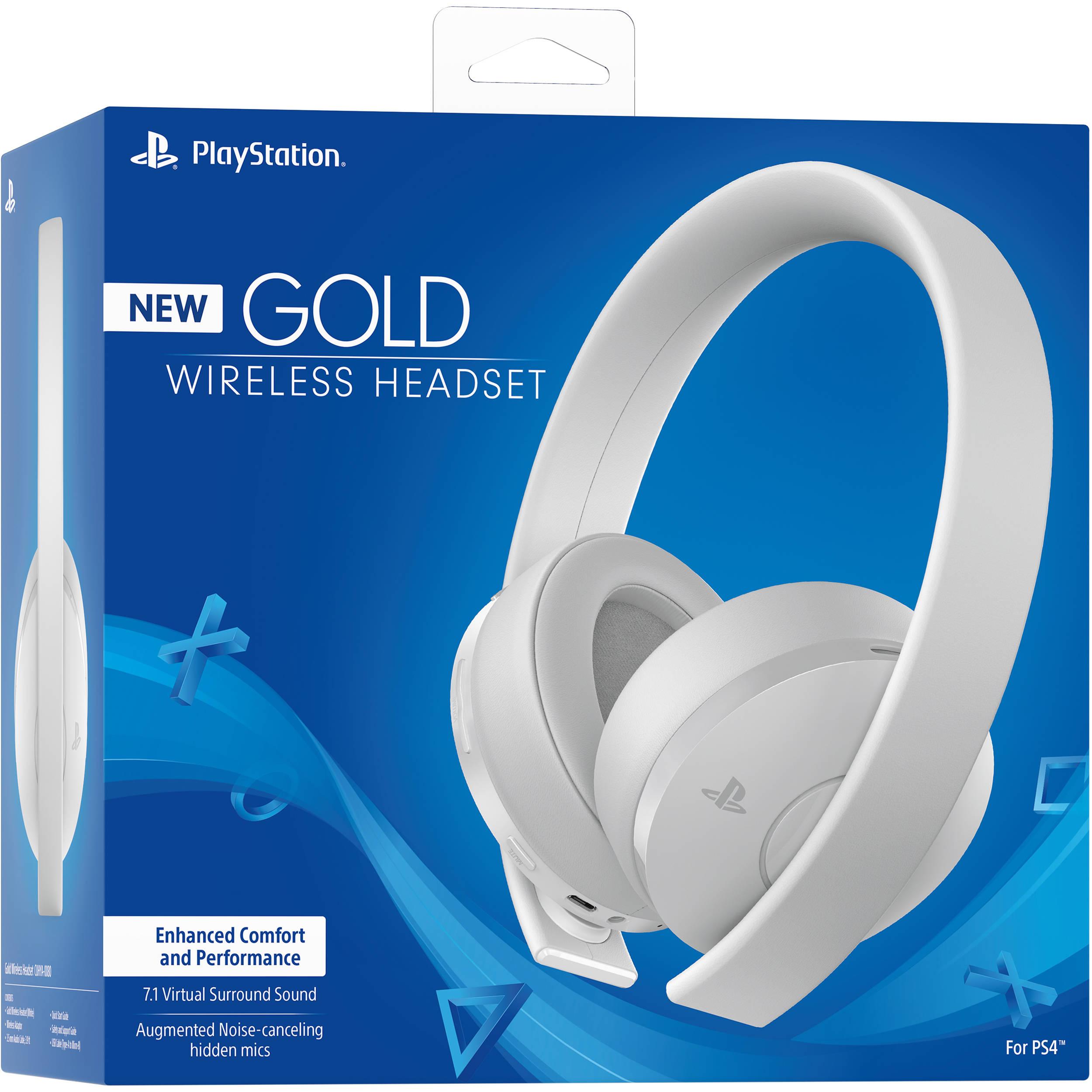 Sony Playstation Gold Wireless Headset White 3003339 B H Photo