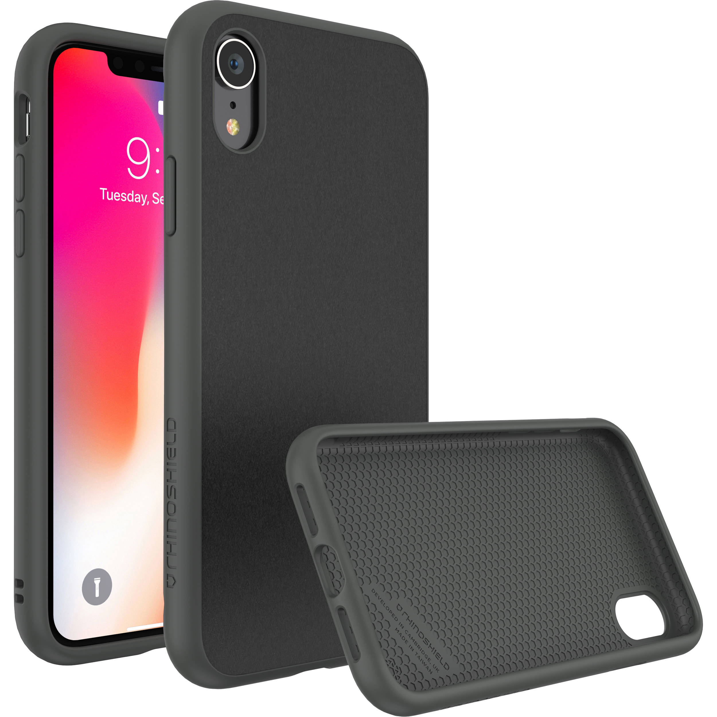 meet 283c1 94861 RhinoShield SolidSuit Case for iPhone XR (Black Leather Finish)
