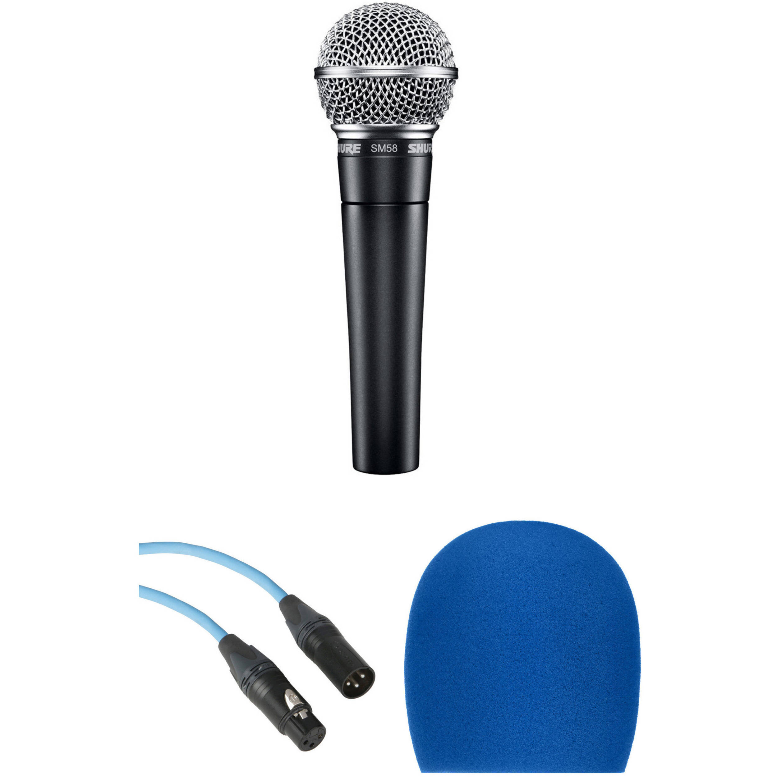 Shure SM58 Handheld Dynamic Microphone Kit (Blue Cable & Windscreen)