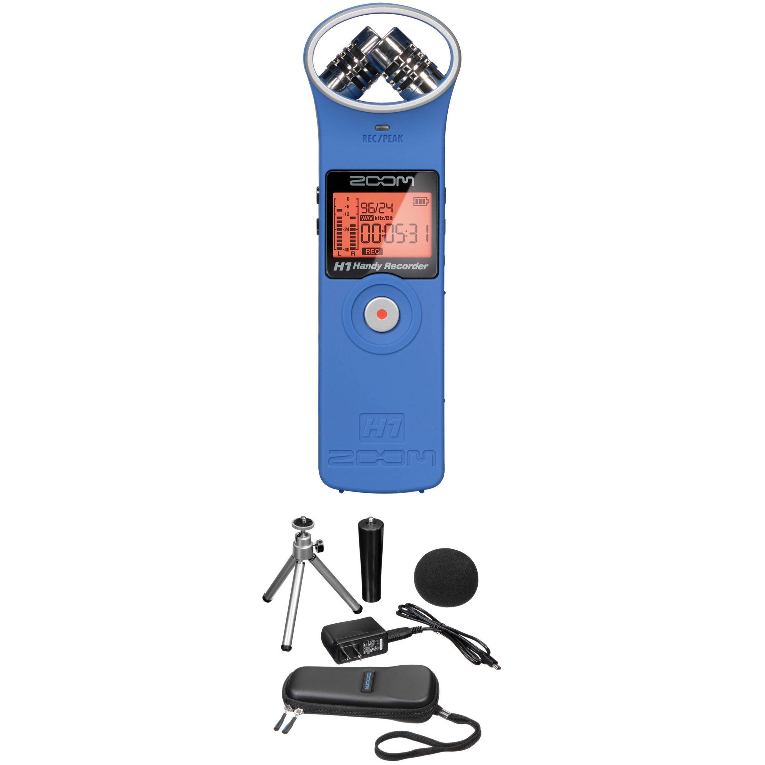 Zoom H1 Audio Recorder And Accessory Kit Blue B H Photo Video