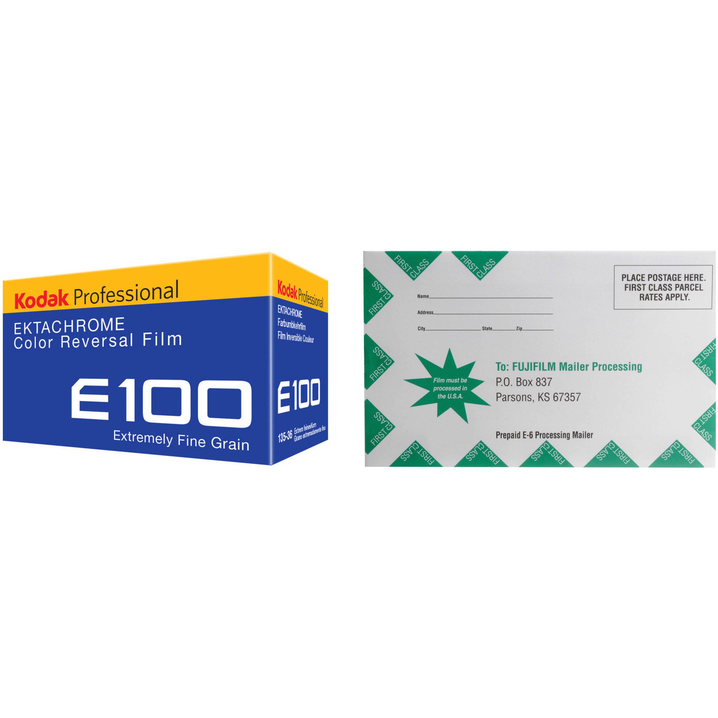 Kodak Professional Ektachrome E100 Color Transparency Film With Processing Mailer Kit 35mm Roll Film 36 Exposures