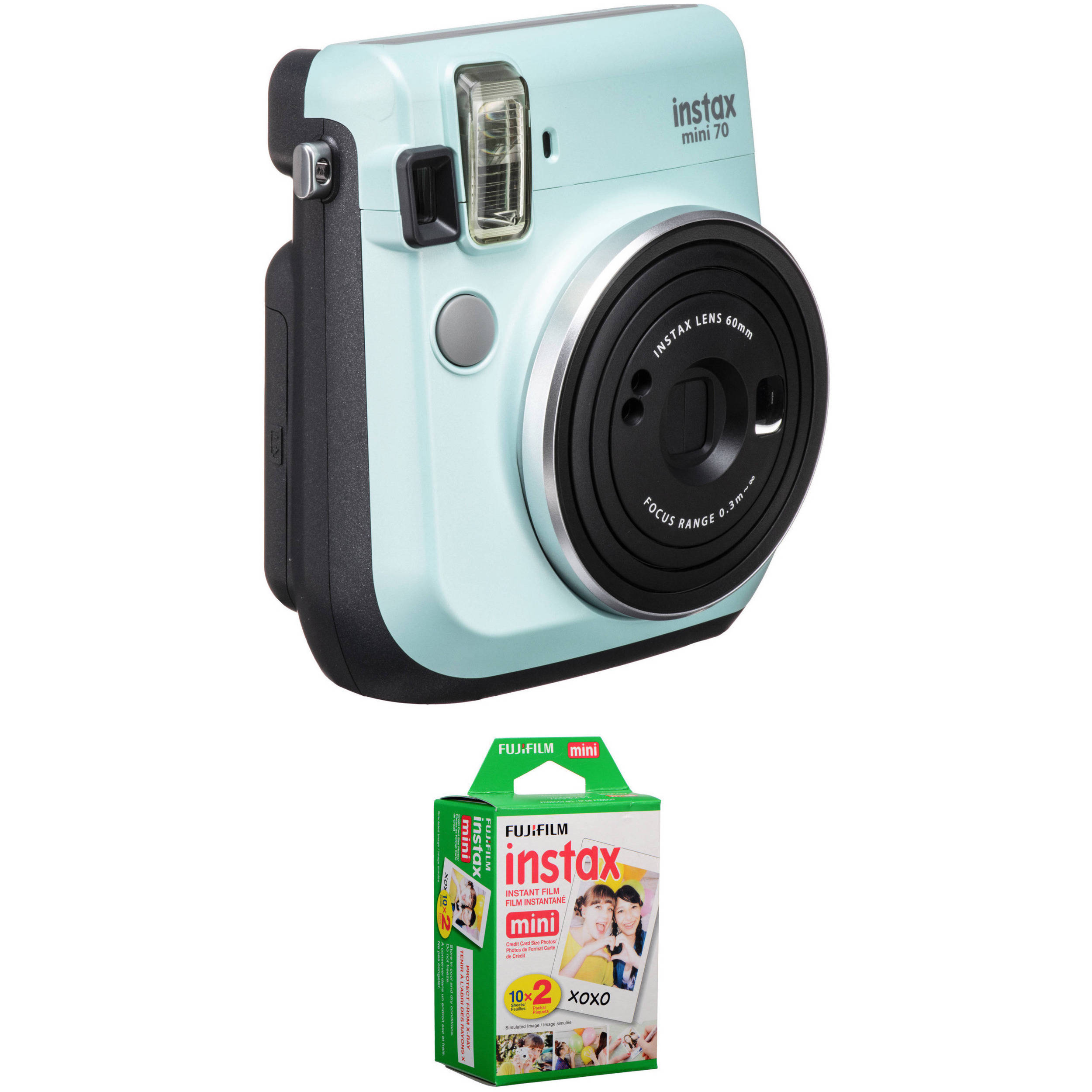 FUJIFILM INSTAX Mini 70 Instant Film Camera with 20 Sheets Film Kit (Icy  Mint)