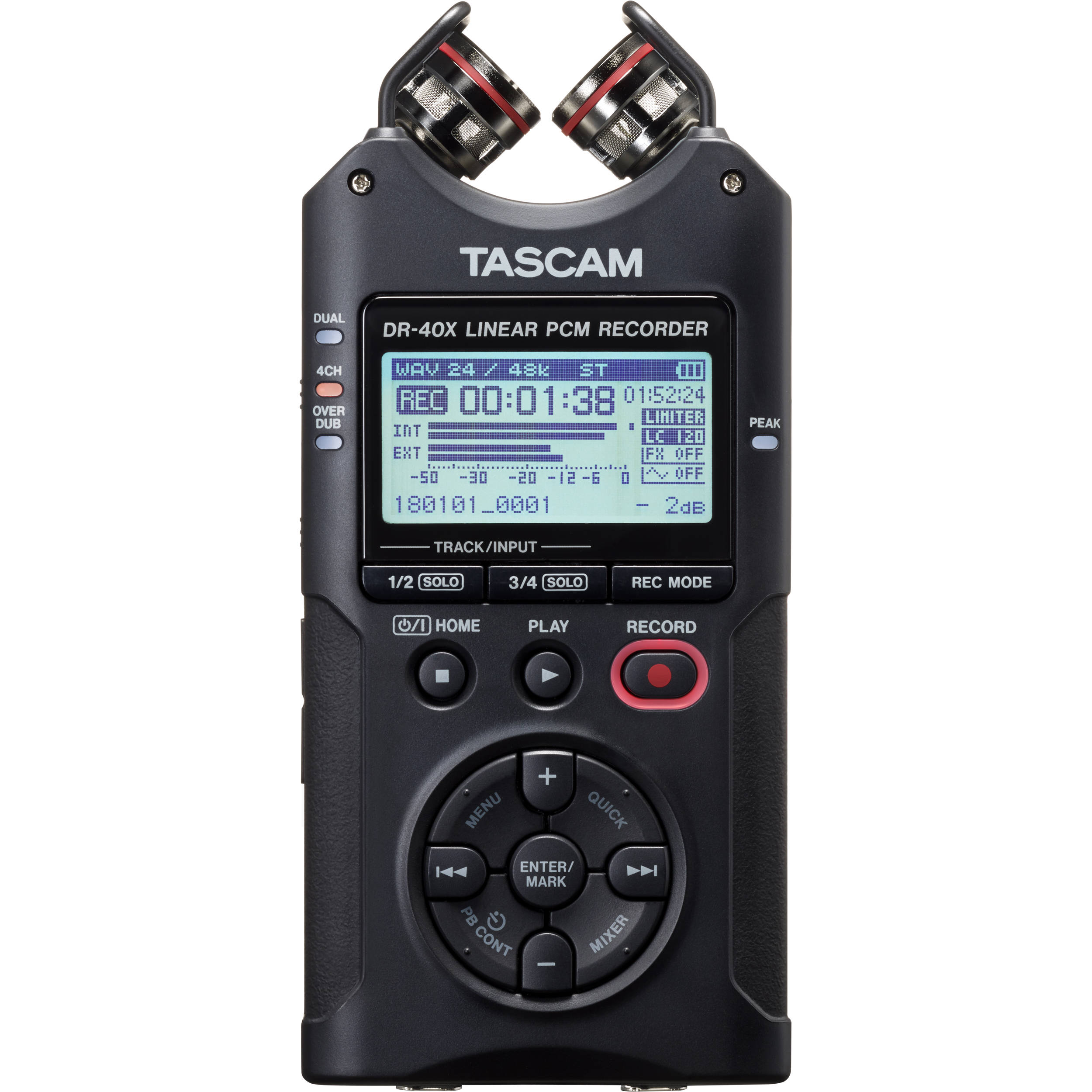 Tascam DR-40X 4-Channel / 4-Track Portable Audio Recorder with Adjustable  Stereo Microphone