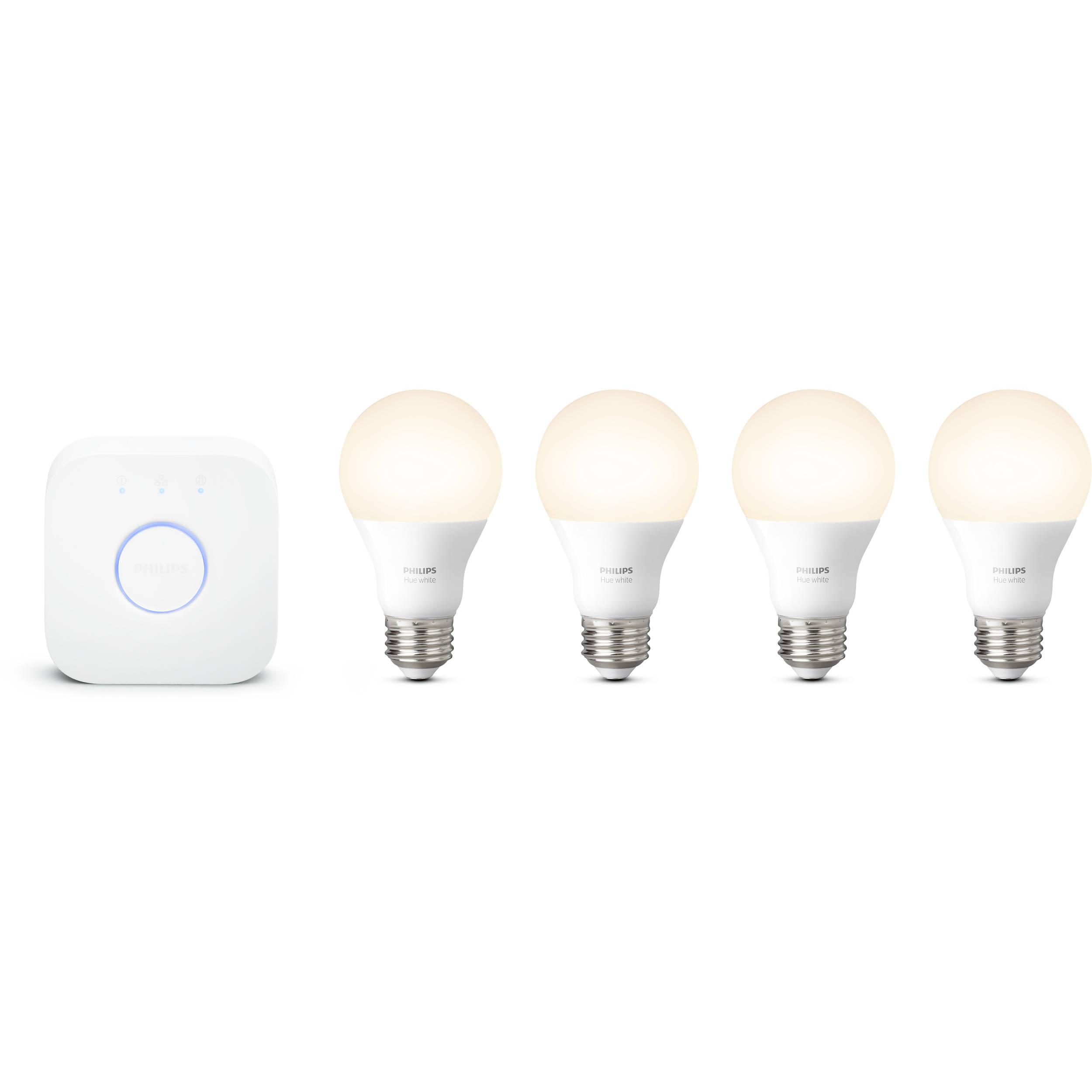 4 A19 Bulbs and 1 Bridge Compatible... Philips Hue White Smart Bulb Starter Kit
