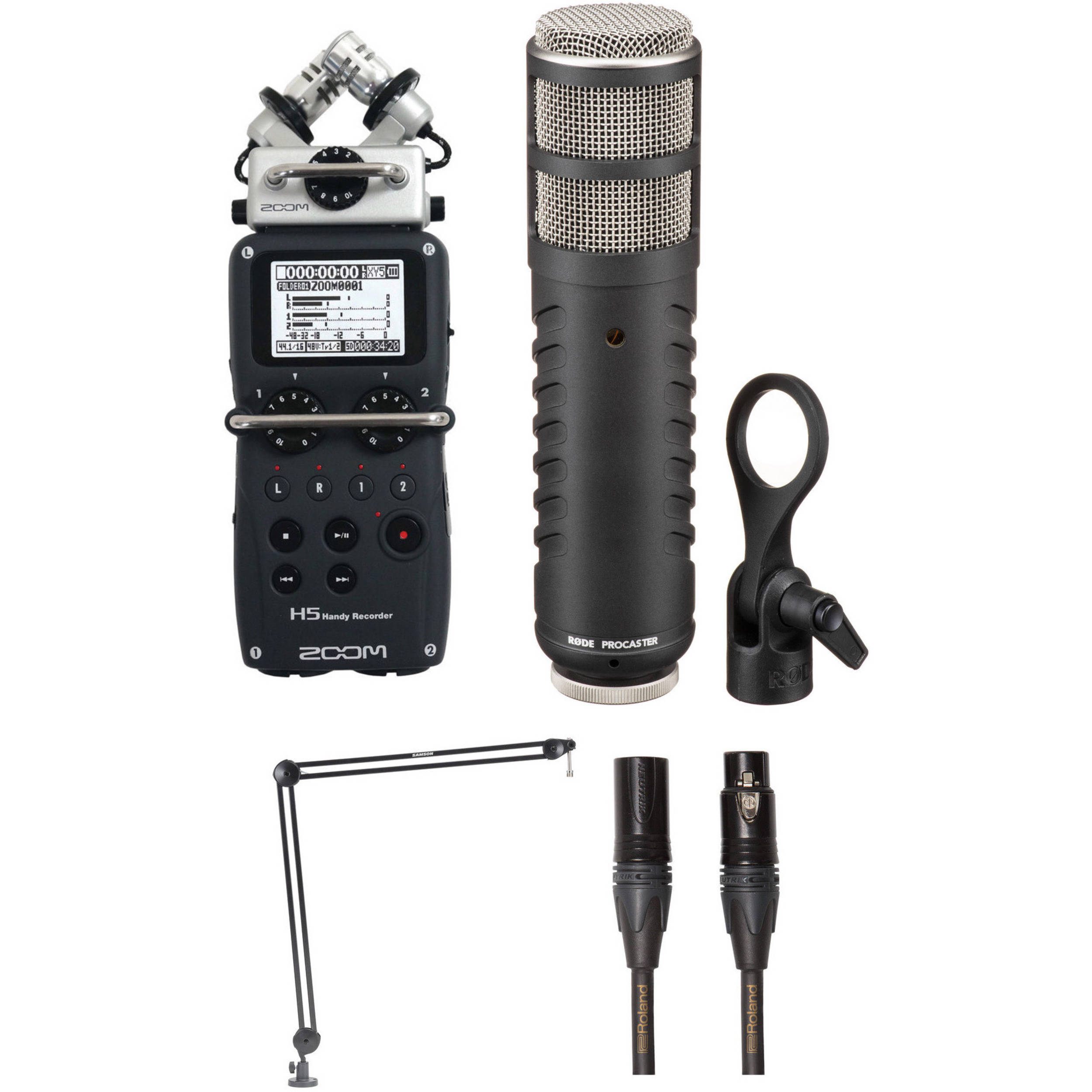 Zoom H5 Recorder Podcast Kit with RØDE Procaster Mic
