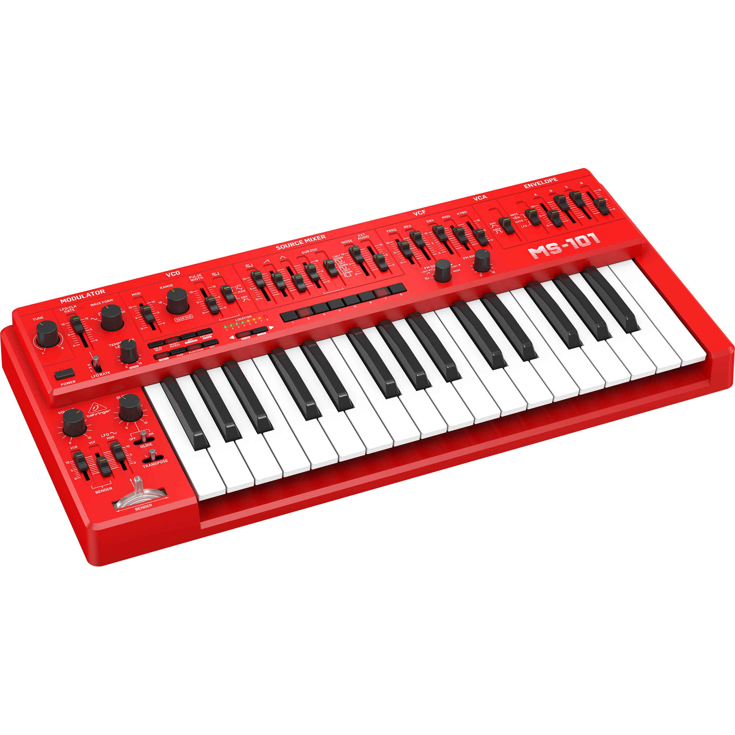 Behringer MS-101 Analog Synthesizer with Live Performance Kit (Red)