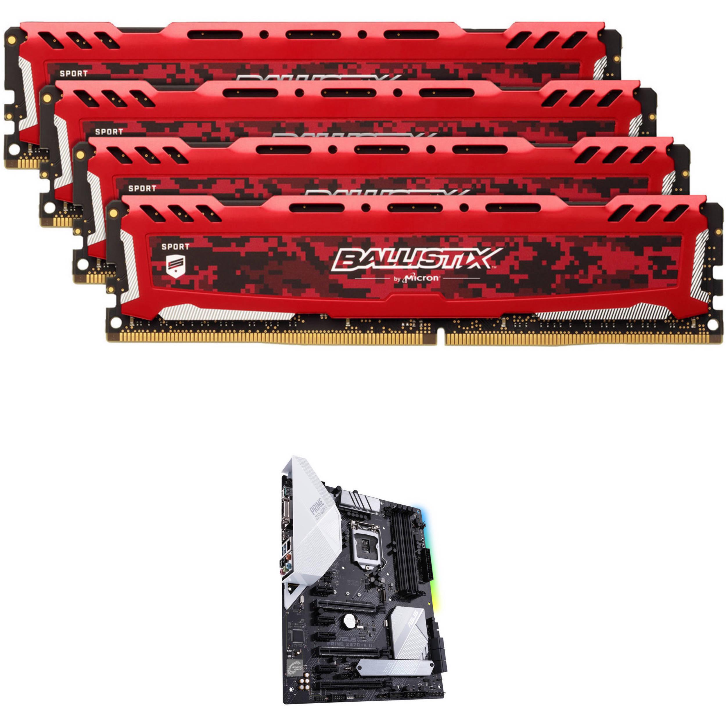 Ballistix 32GB Sport LT DDR4 Memory & ASUS Prime Z370-A II LGA 1151 ATX  Motherboard Kit