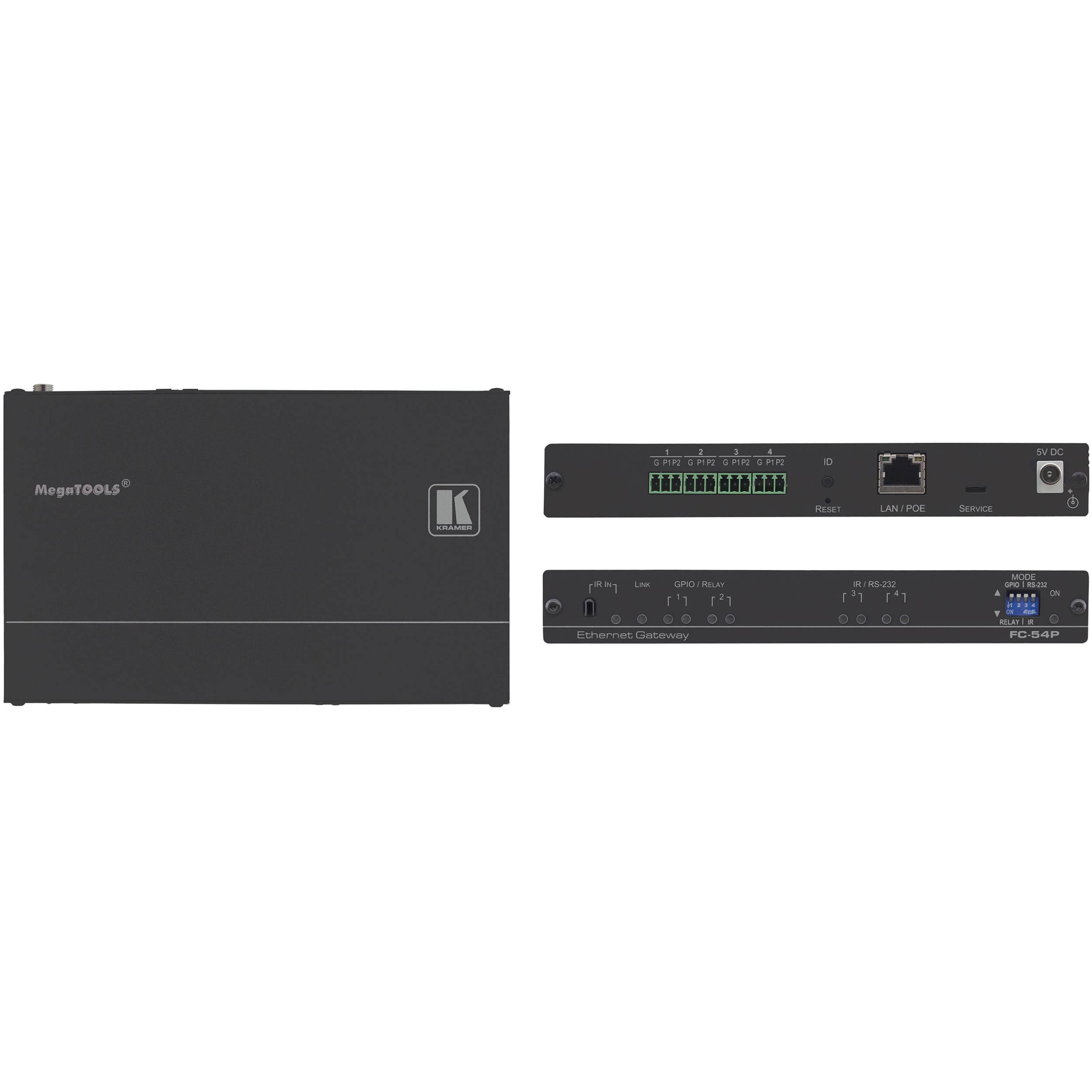 Kramer 4-Port Multi-Function Serial/IR & GPIO/Relay PoE Control Gateway