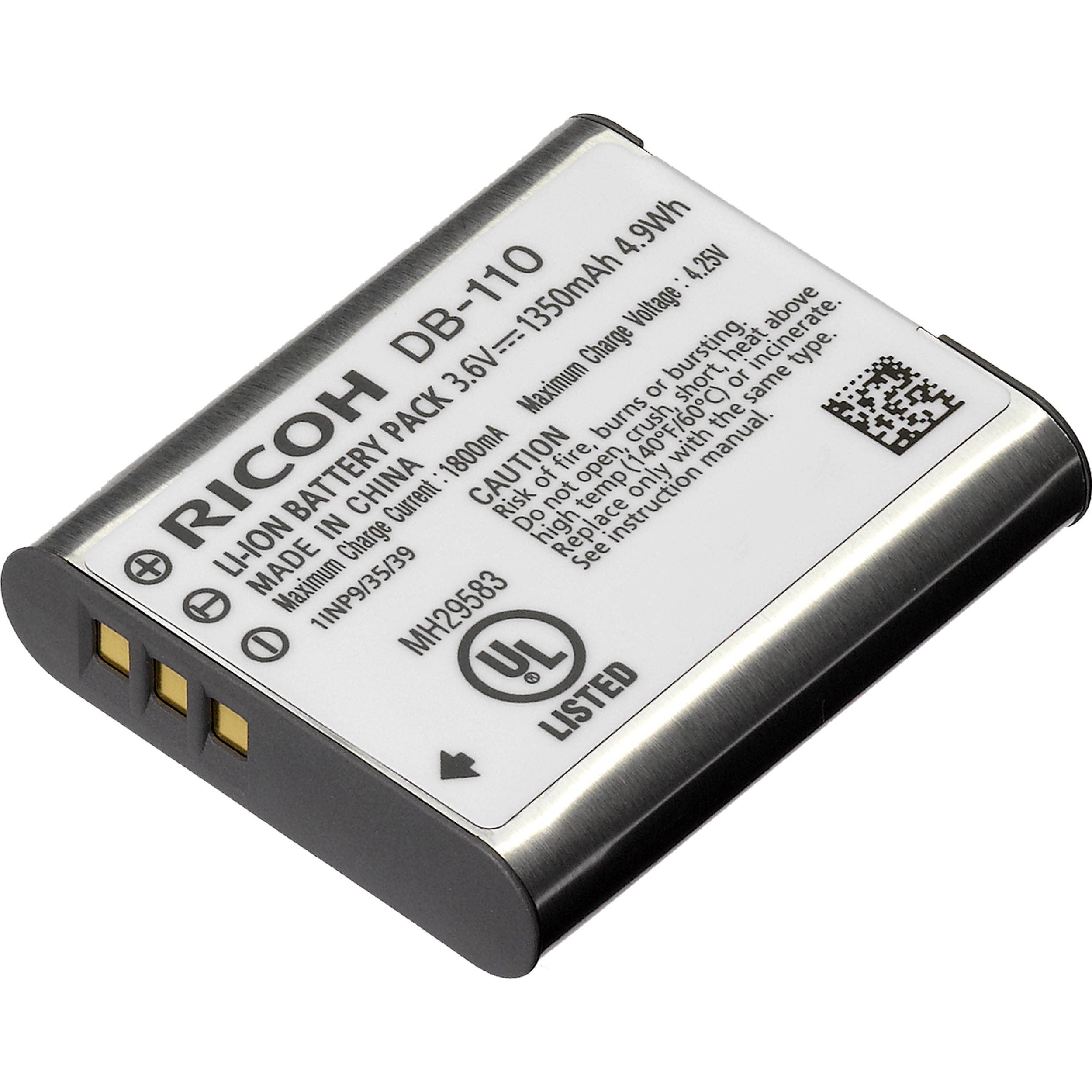 Lithium Ion Battery >> Ricoh Db 110 Rechargeable Lithium Ion Battery 3 6v 1350mah
