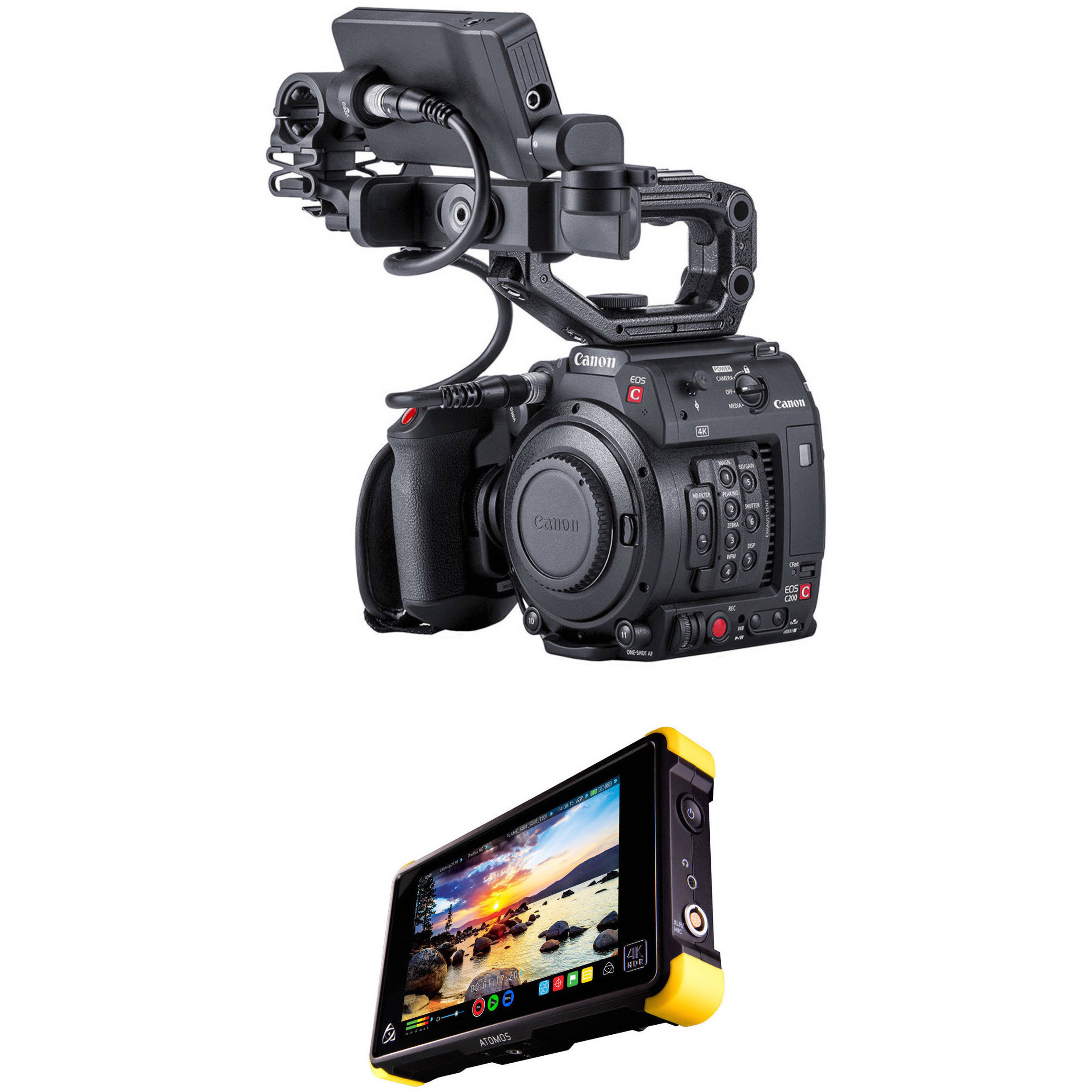 Canon C200 EF with Accessories and Shogun Flame Kit (No EVF)