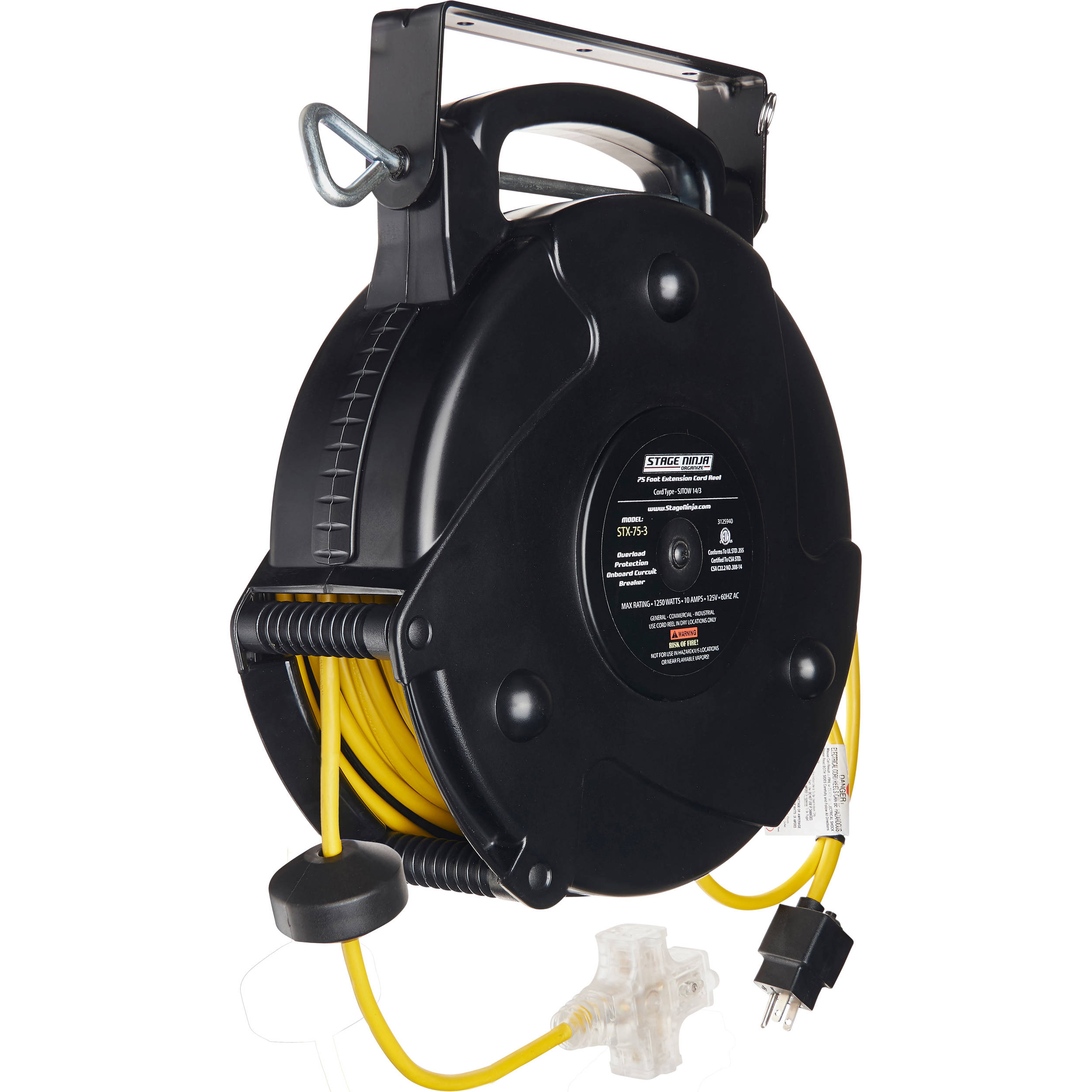 Retractable Extension Cord Reel >> Stage Ninja 14 Awg 3 Outlet Retractable Power Reel With Led Power Indicator And Circuit Breaker Yellow Cord Black Thermoplastic Housing 75