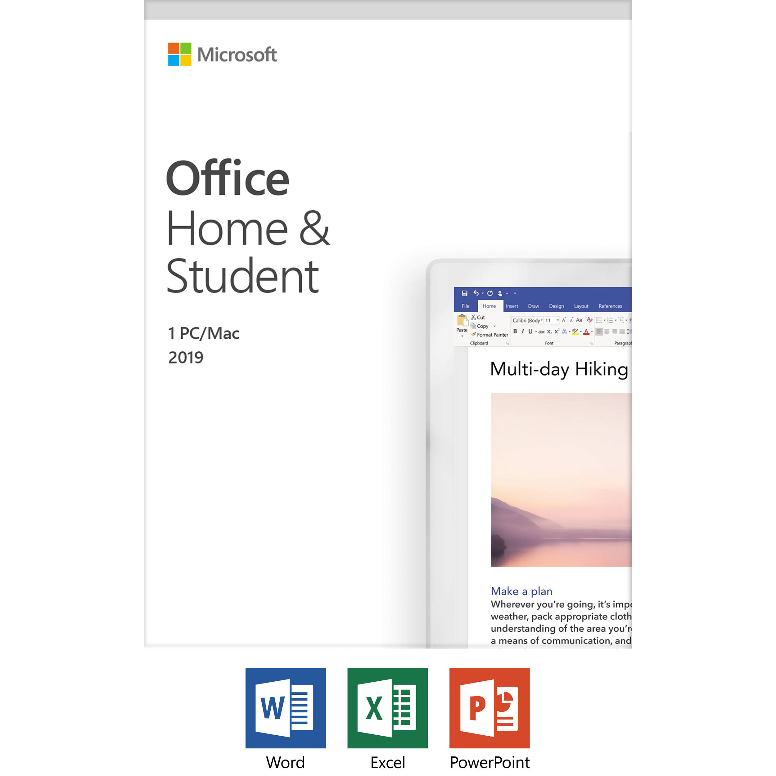 Microsoft Office Home & Student 2019 (1-User License, Product Key Code)