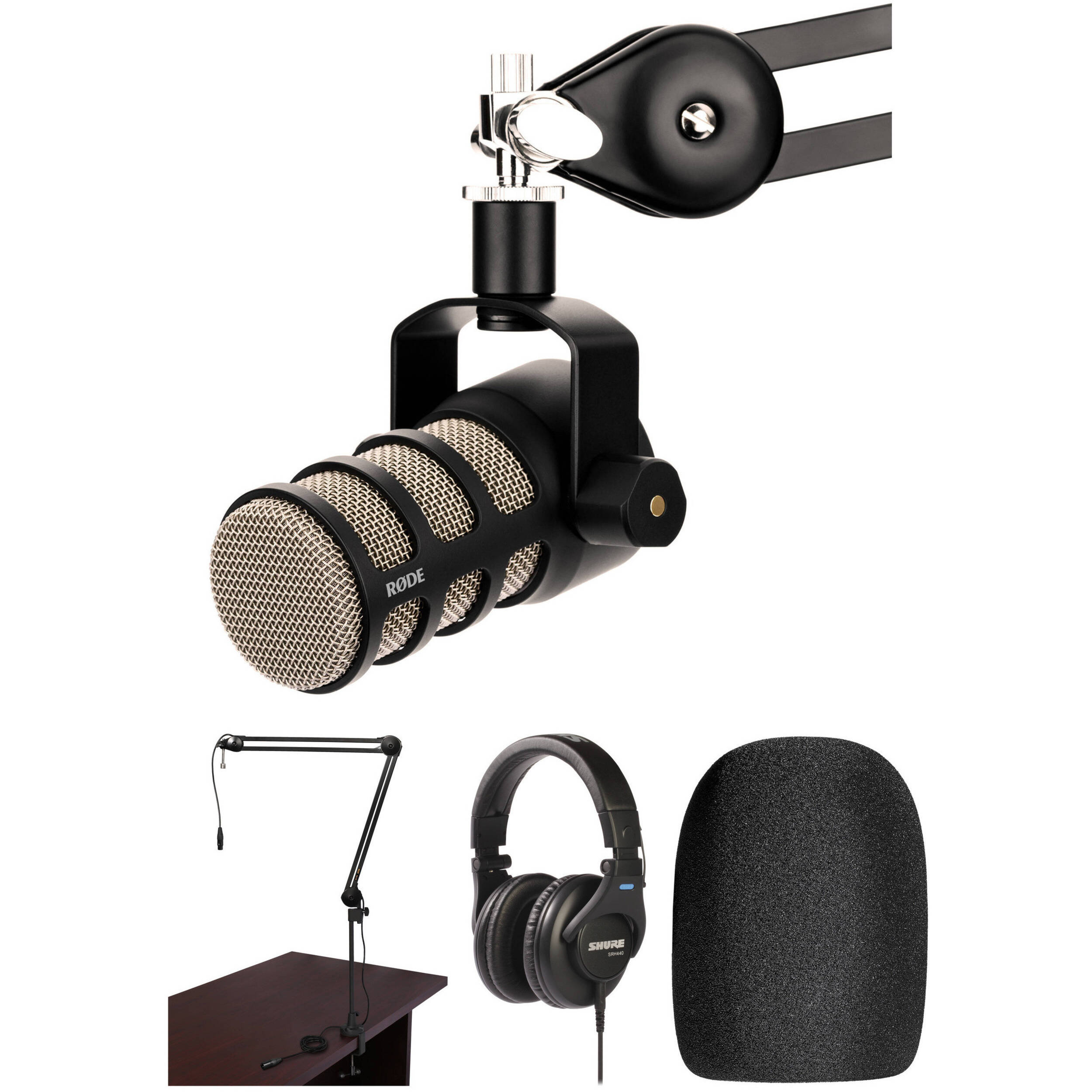 Rode PodMic Microphone with Broadcast Arm and Headphone Kit