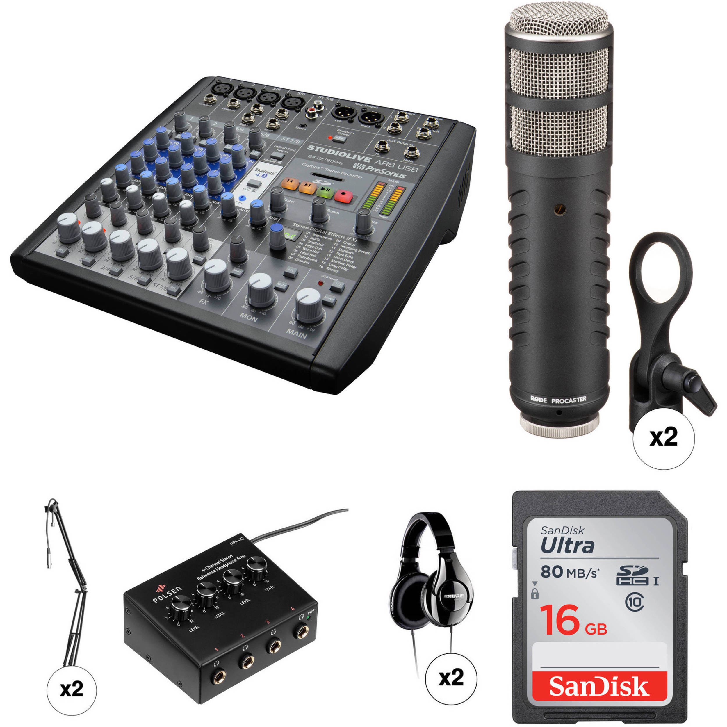 PreSonus Two-Person Radio and Podcast Kit with StudioLive Mixer,  Microphones, Boom Stands, and Headphones
