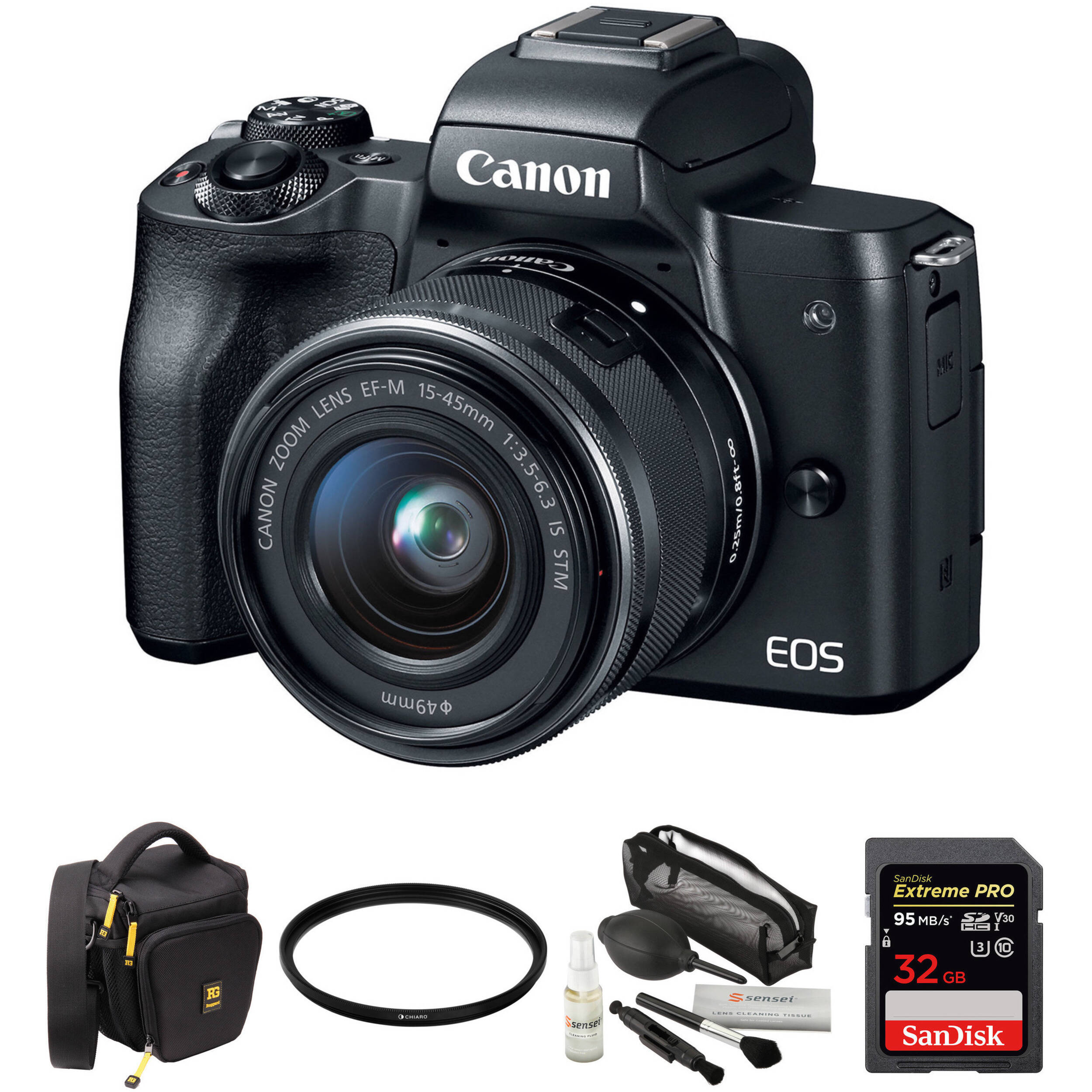 Canon EOS M50 Mirrorless Digital Camera with 15-45mm Lens and Accessory Kit  (Black)