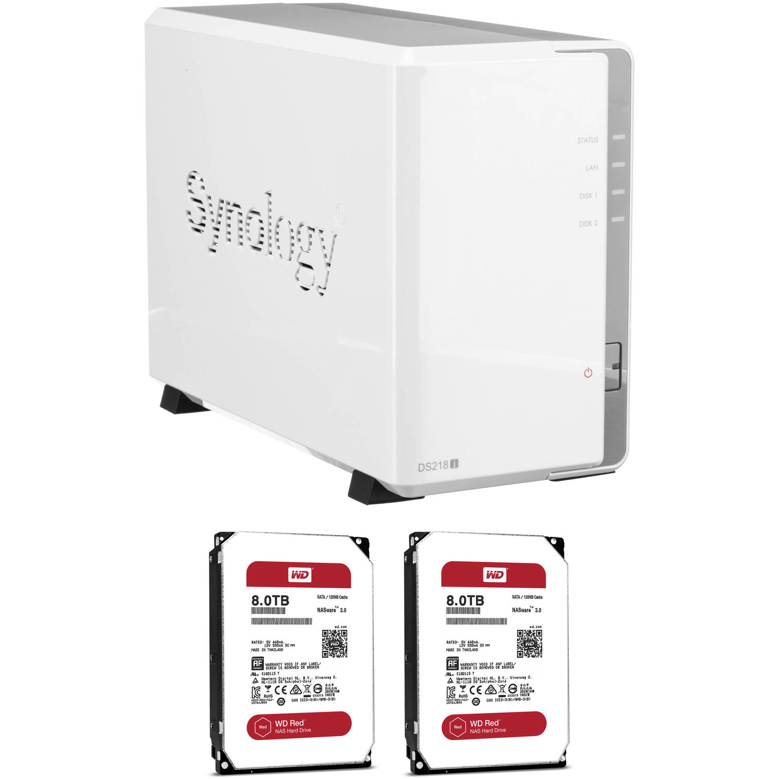 Synology DiskStation 16TB DS218j 2-Bay NAS Enclosure Kit with WD NAS Drives  (2 x 8TB)