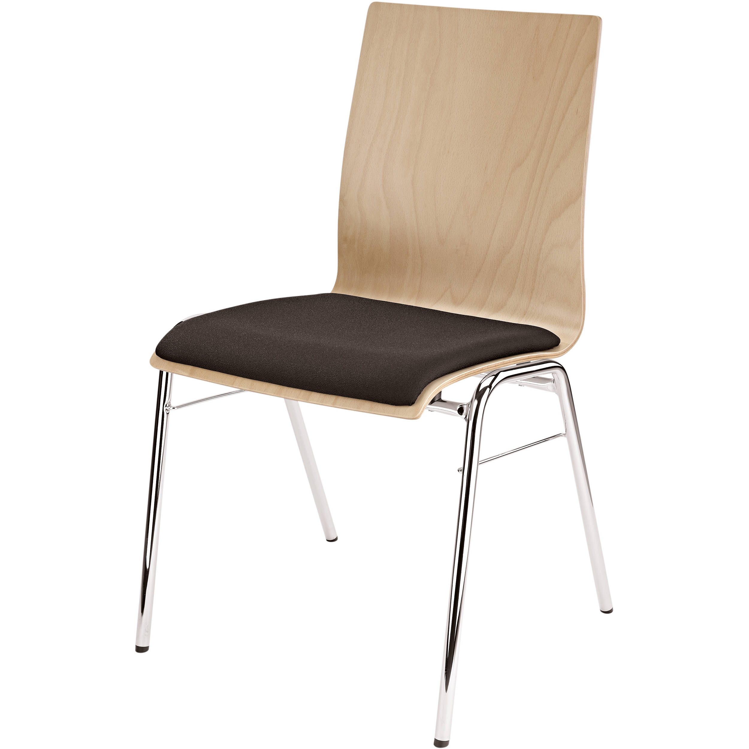 K M Stacking Chair With Black Seat Cushion Natural