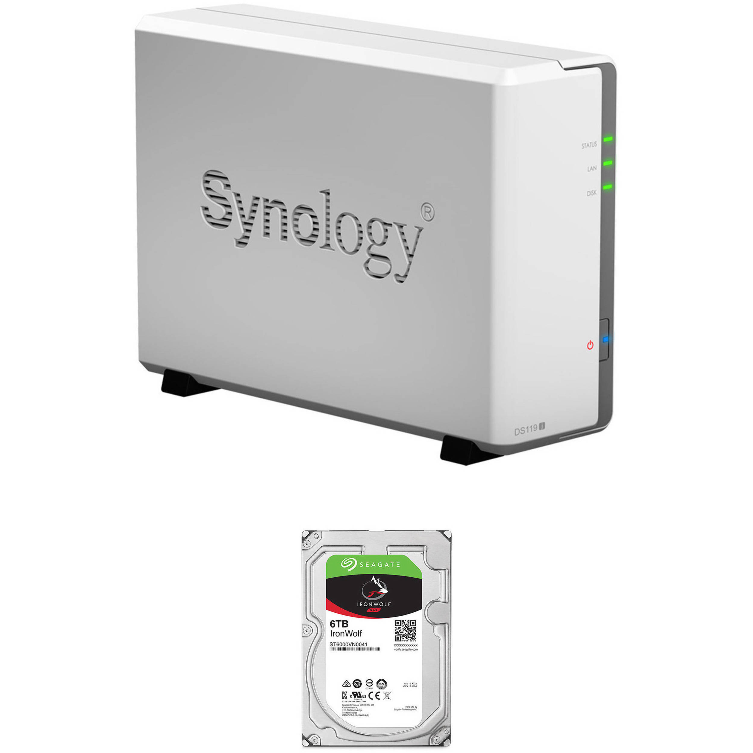 Synology DiskStation 6TB DS119j 1-Bay NAS Enclosure Kit with Seagate NAS  Drive (1 x 6TB)