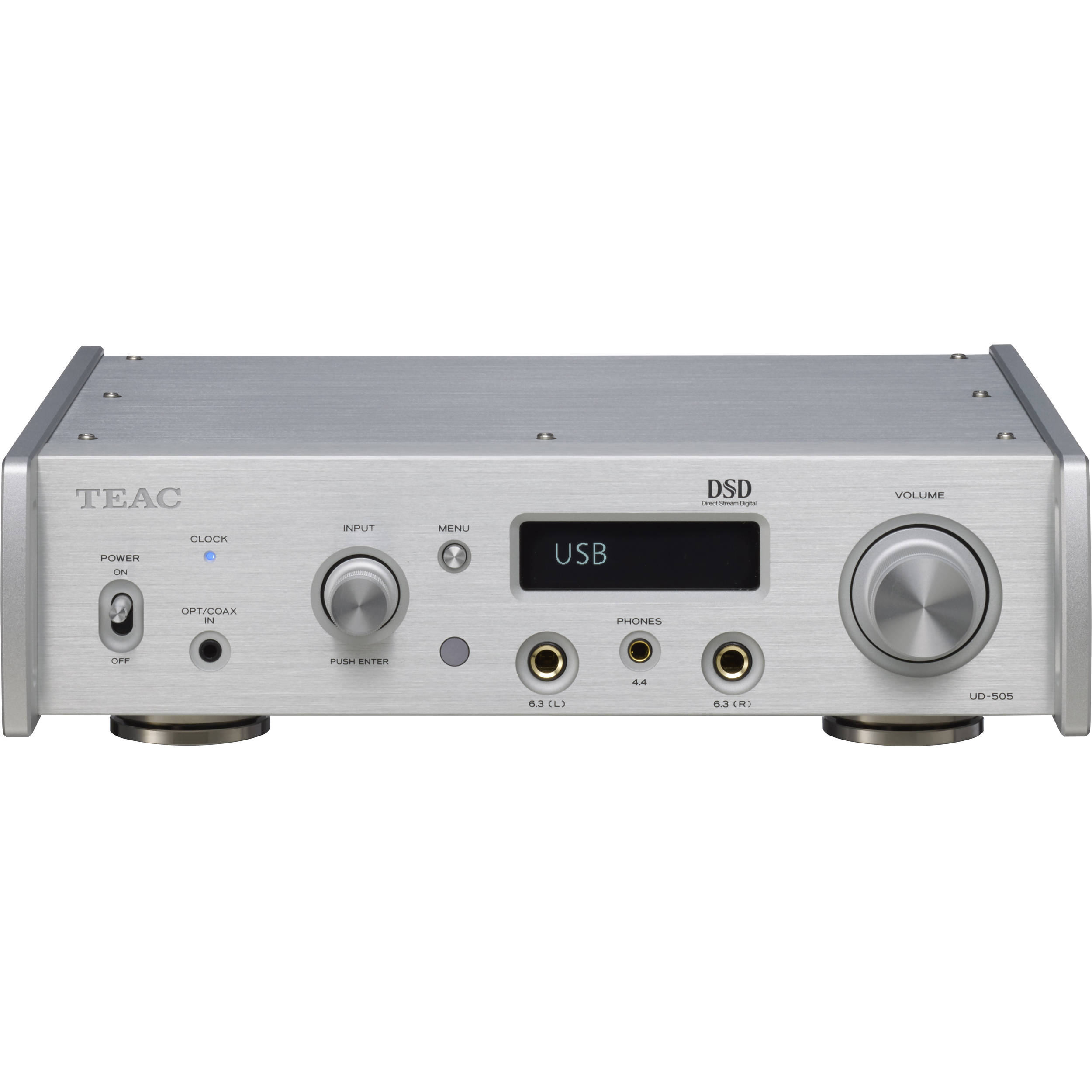 Teac UD-505 Dual-Mono USB DAC with Built-In Headphone Amplifier and  Bluetooth (Silver)