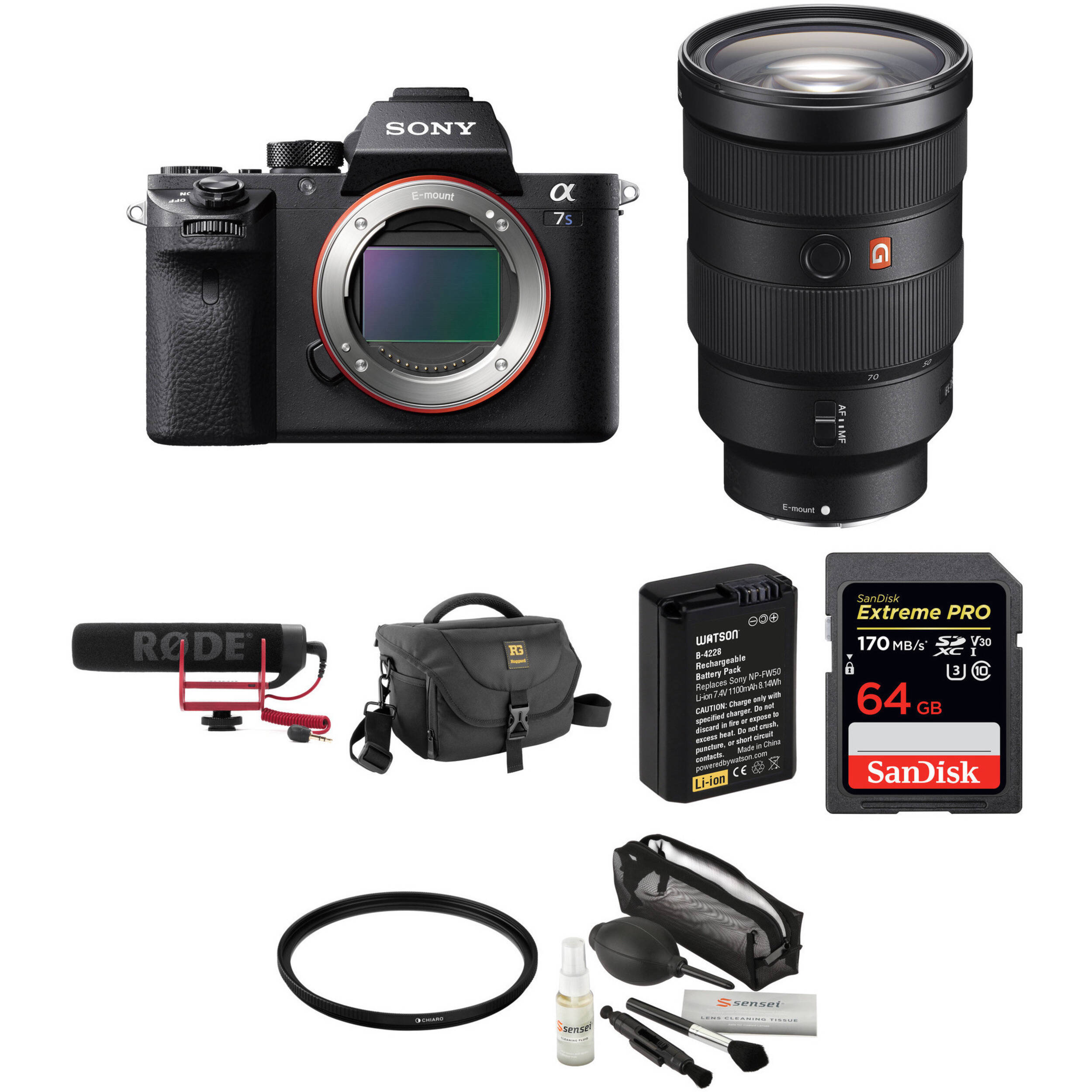 Sony Alpha a7S II Mirrorless Digital Camera with 24-70mm f/2 8 Lens and  Rode VideoMic Kit