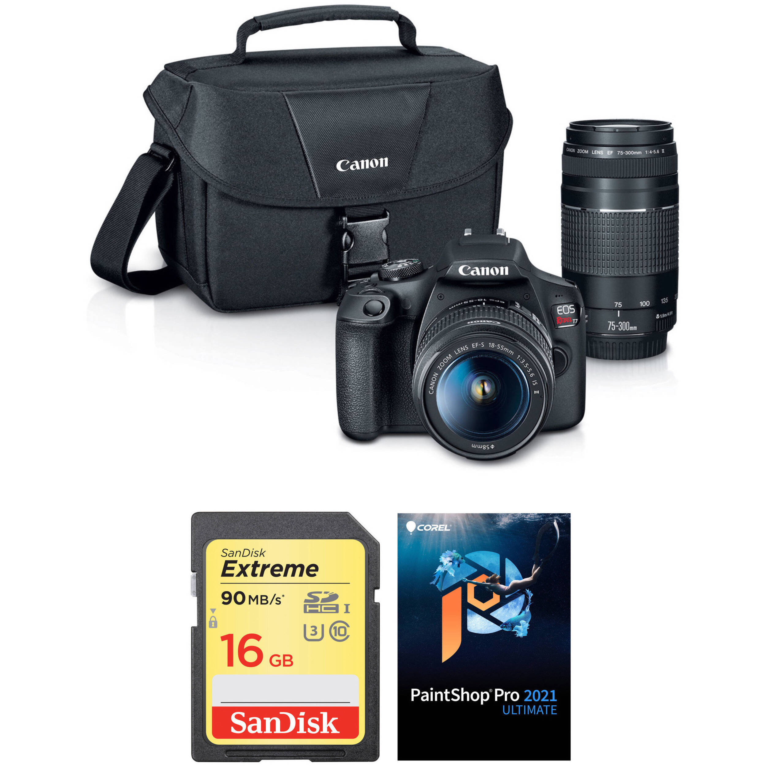 Canon EOS Rebel T7 DSLR Camera with 18-55mm and 75-300mm Lenses Accessory  Kit