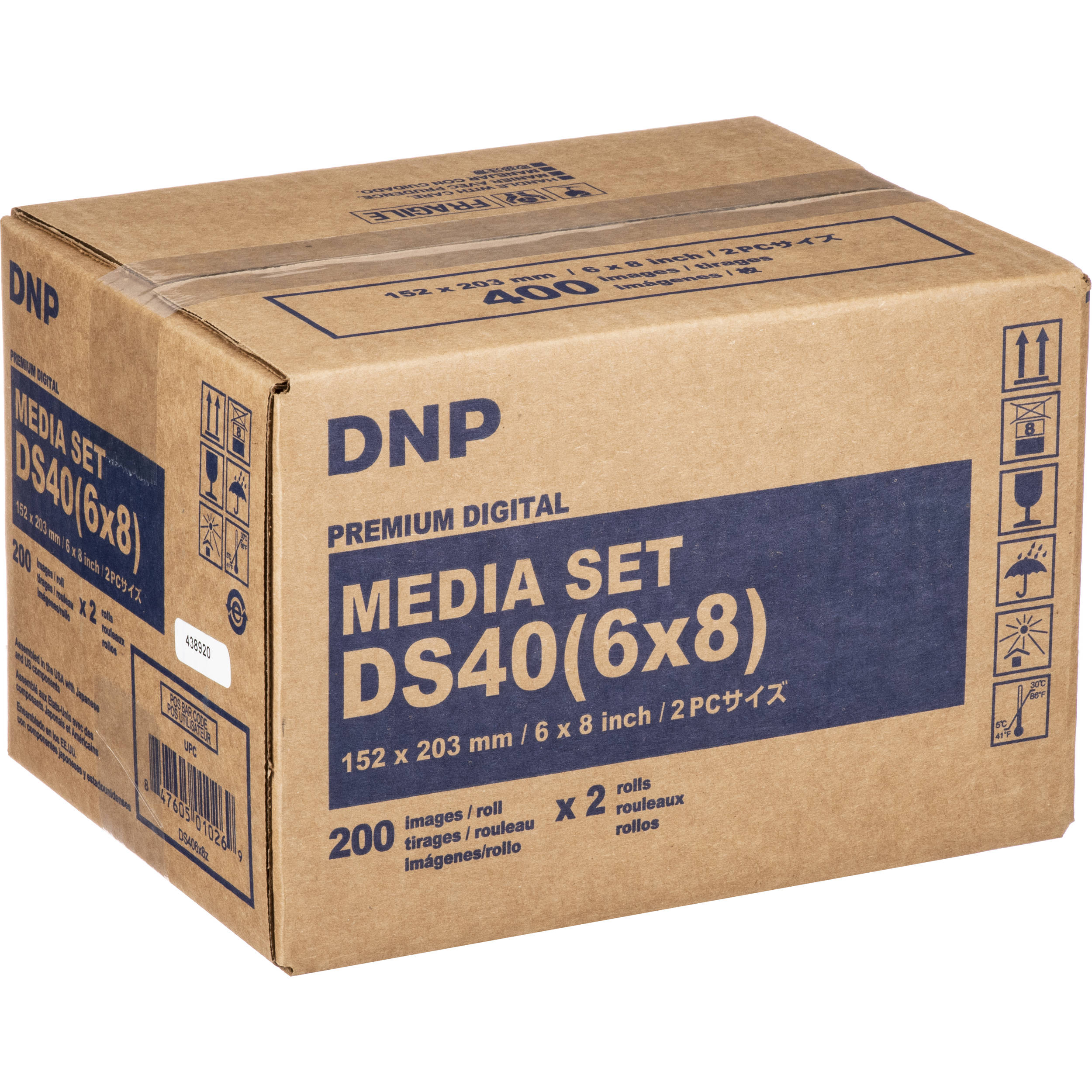 DNP DS40 6x8 Dyesub Printer Paper 400 Glossy Prints For DS40 Printers