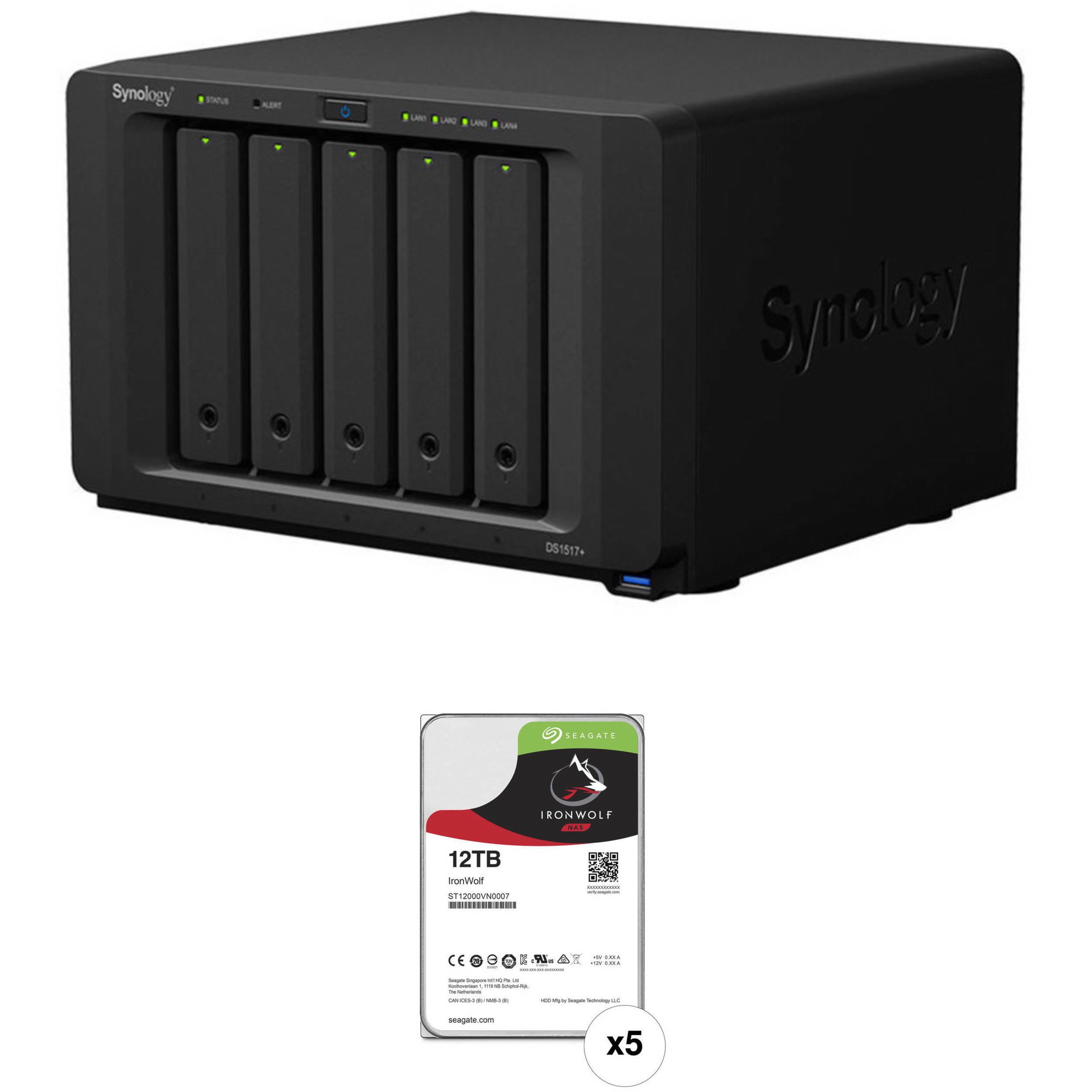 Synology DiskStation 60TB DS1517+ 5-Bay NAS Enclosure Kit with Seagate NAS  Drives (5 x 12TB)