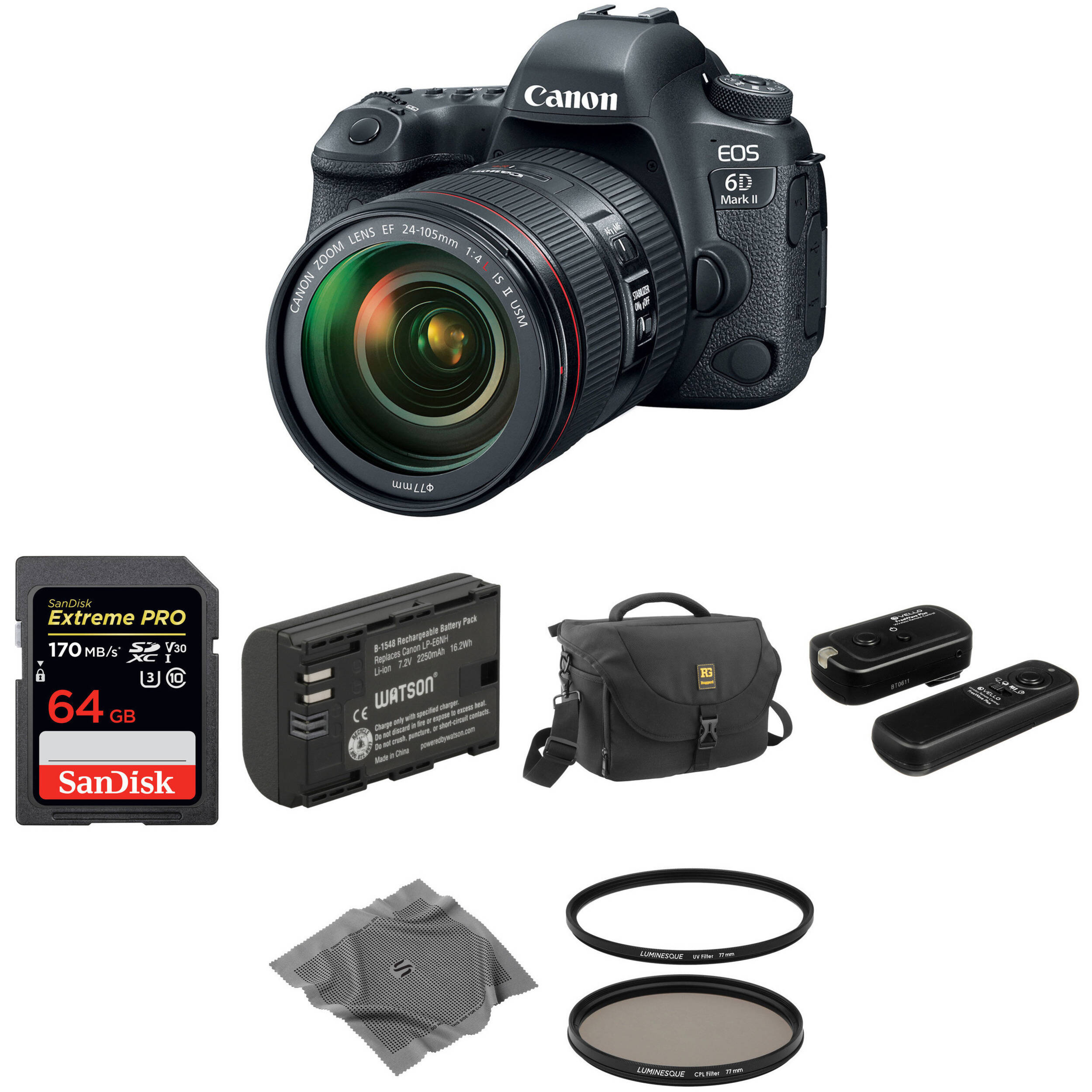 Canon EOS 6D Mark II DSLR Camera with 24-105mm f/4 Lens Basic Kit
