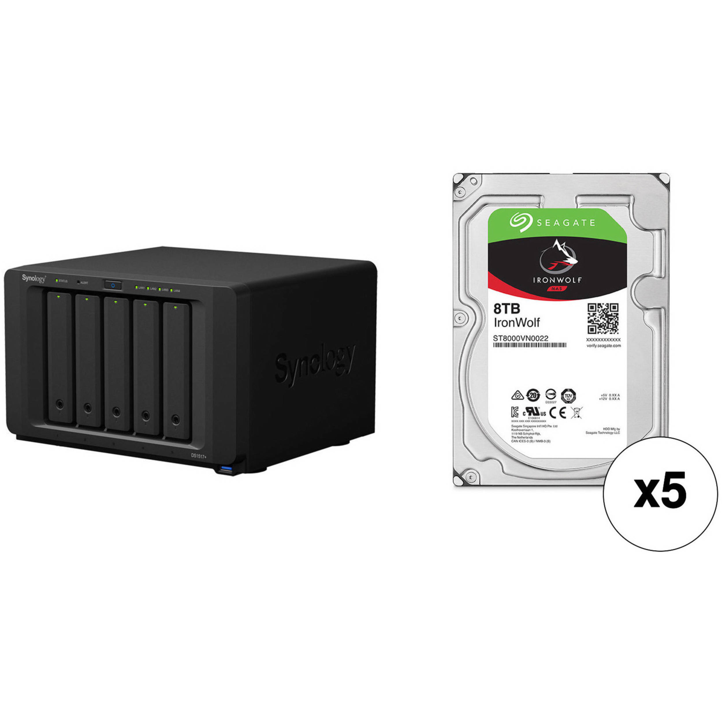 Synology DiskStation 40TB DS1517+ 5-Bay NAS Enclosure Kit with Seagate NAS  Drives (5 x 8TB)