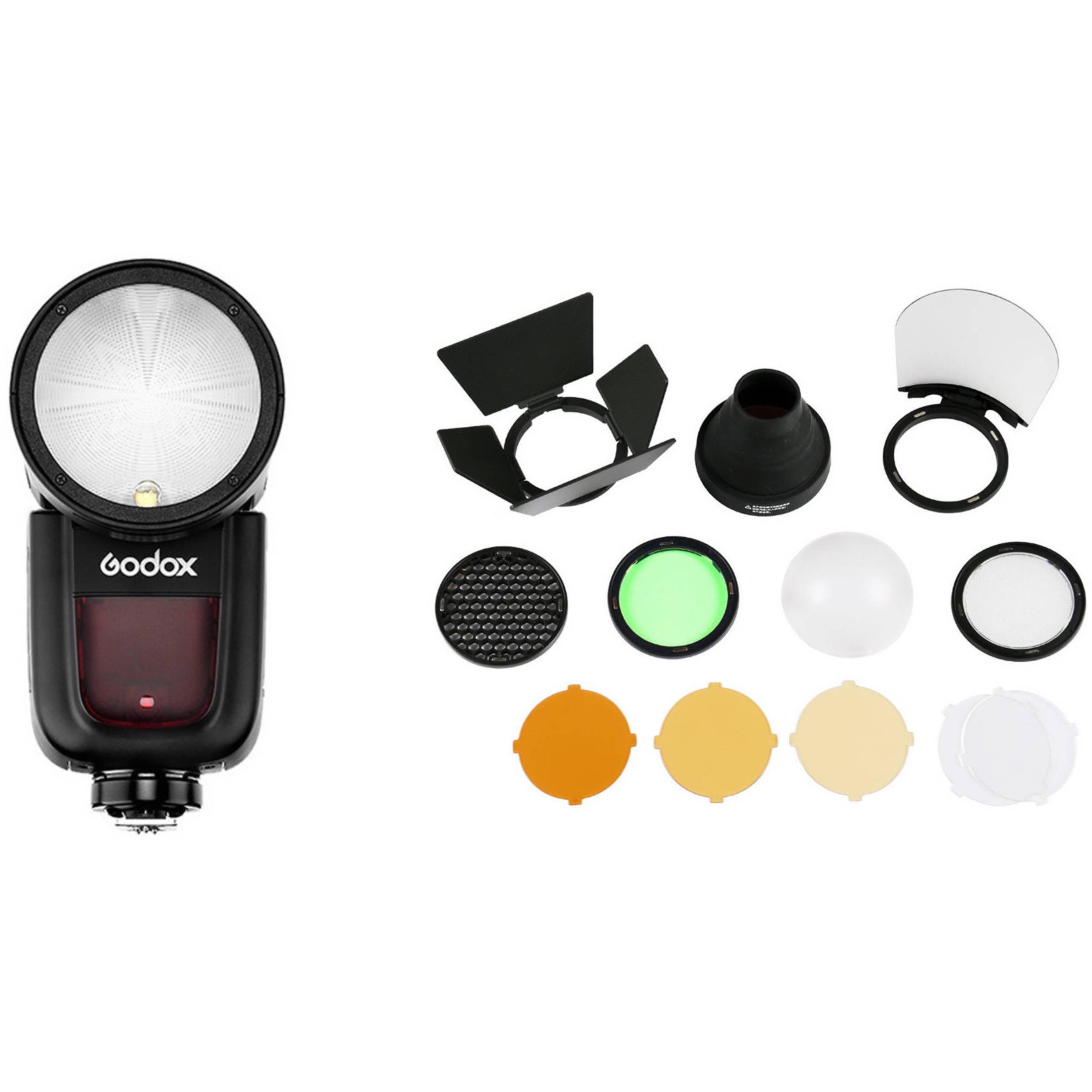 Godox V1-N Flash Interchangeable 2600mAh Lithimu Battery with AK-R1 for Nikon 480 Full Power Shots 1.5 sec Recycle Time,1//8000 HSS