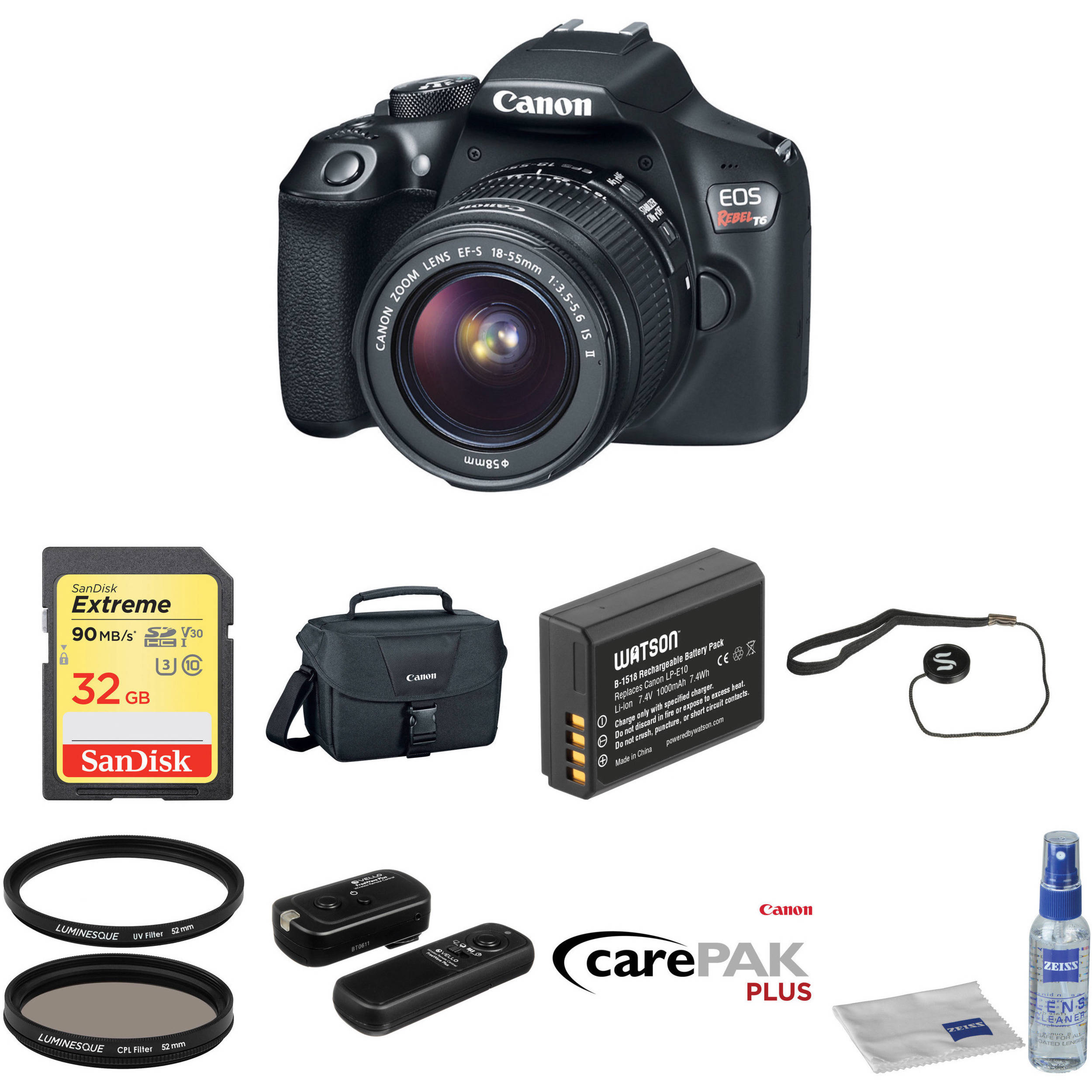 Canon EOS Rebel T6 DSLR Camera with 18-55mm Lens Deluxe Kit
