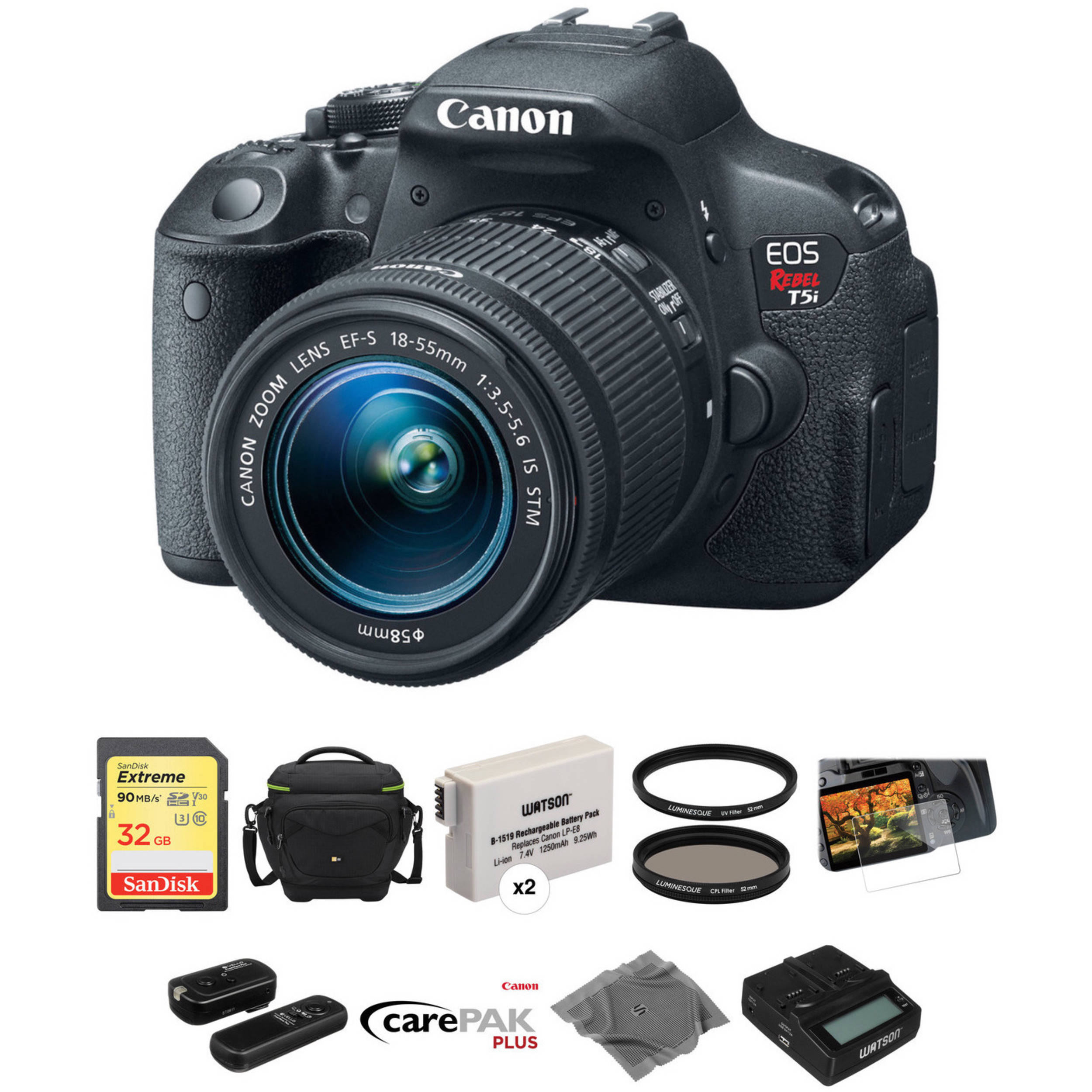 Canon Eos Rebel T5i Dslr Camera With 18 55mm Lens Deluxe Kit