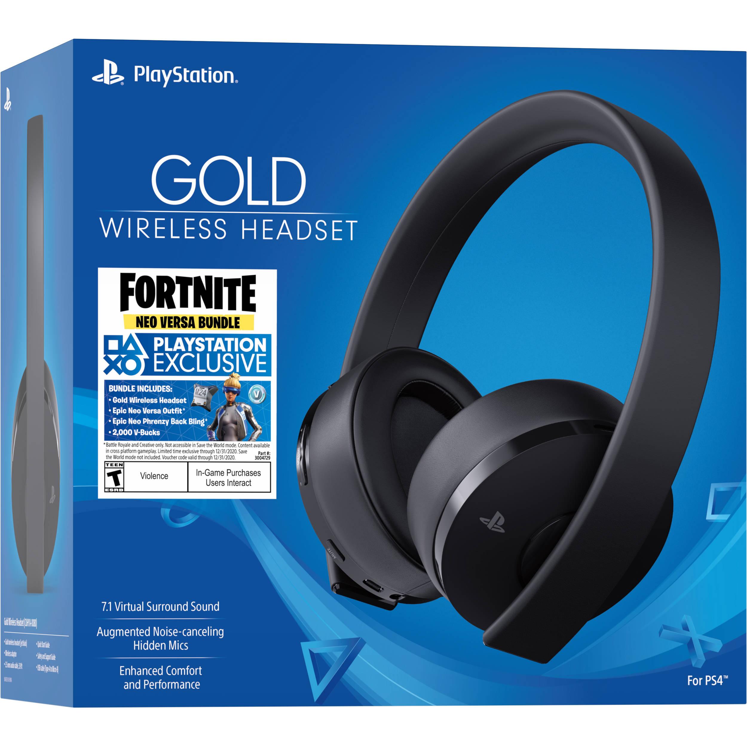 Sony Fortnite Neo Versa Gold Wireless Headset Bundle (Jet Black)