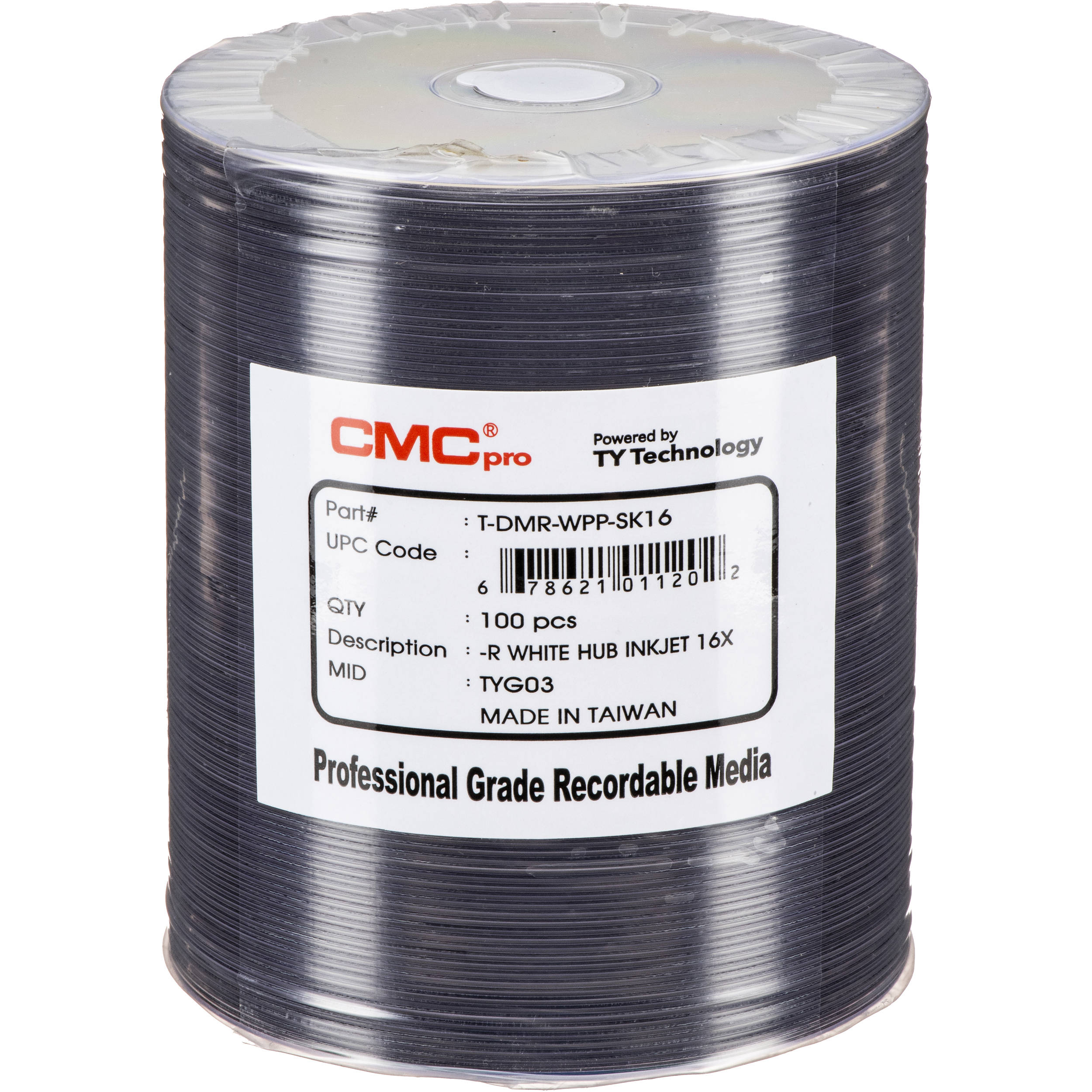 photo about Dvd R Printable named CMC Professional 4.7GB DVD-R 16x White Inkjet Hub Printable Discs (100-Pack, Tape Wrap)