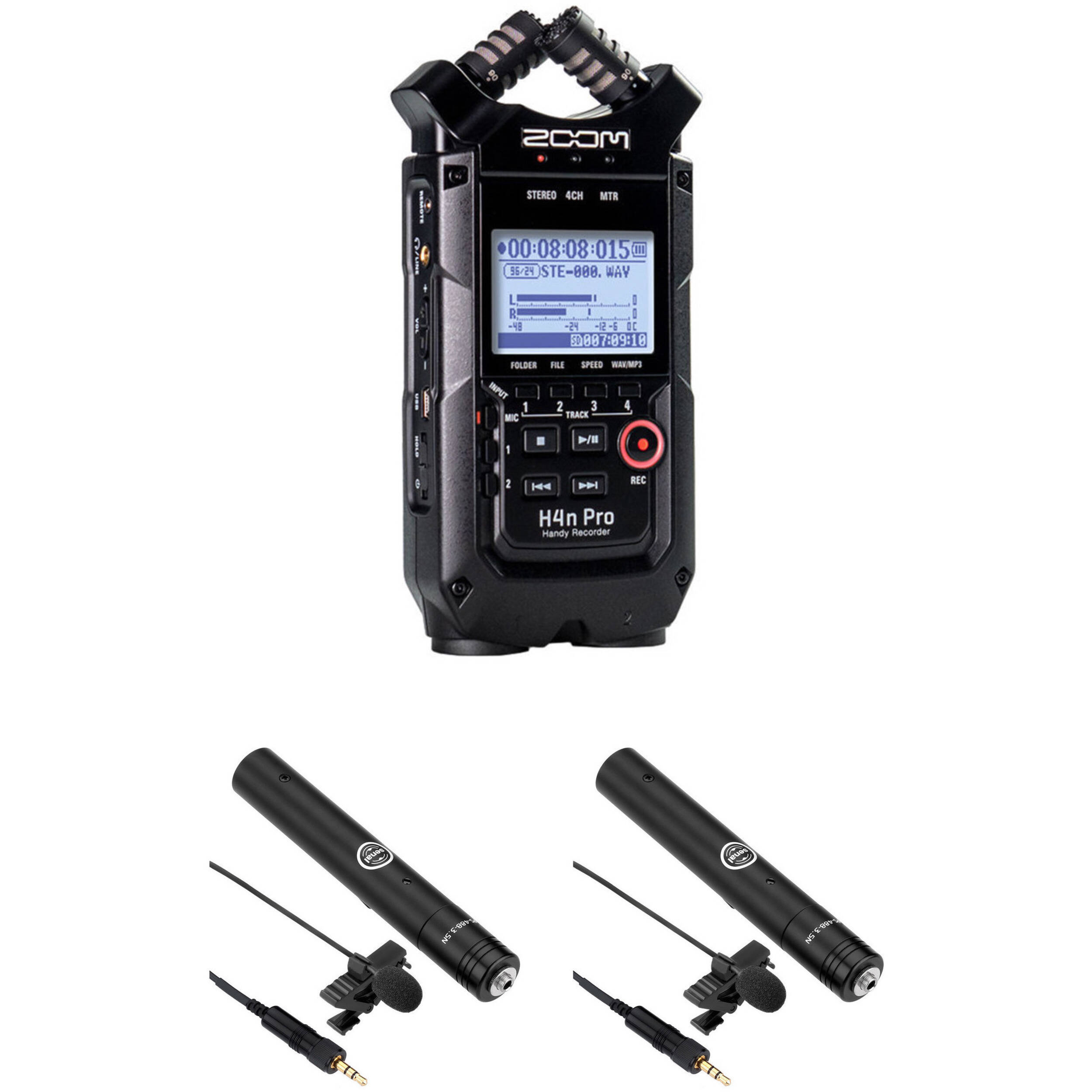 Zoom H4n Pro 2 Person Interview Kit With Lav Mics Black B H