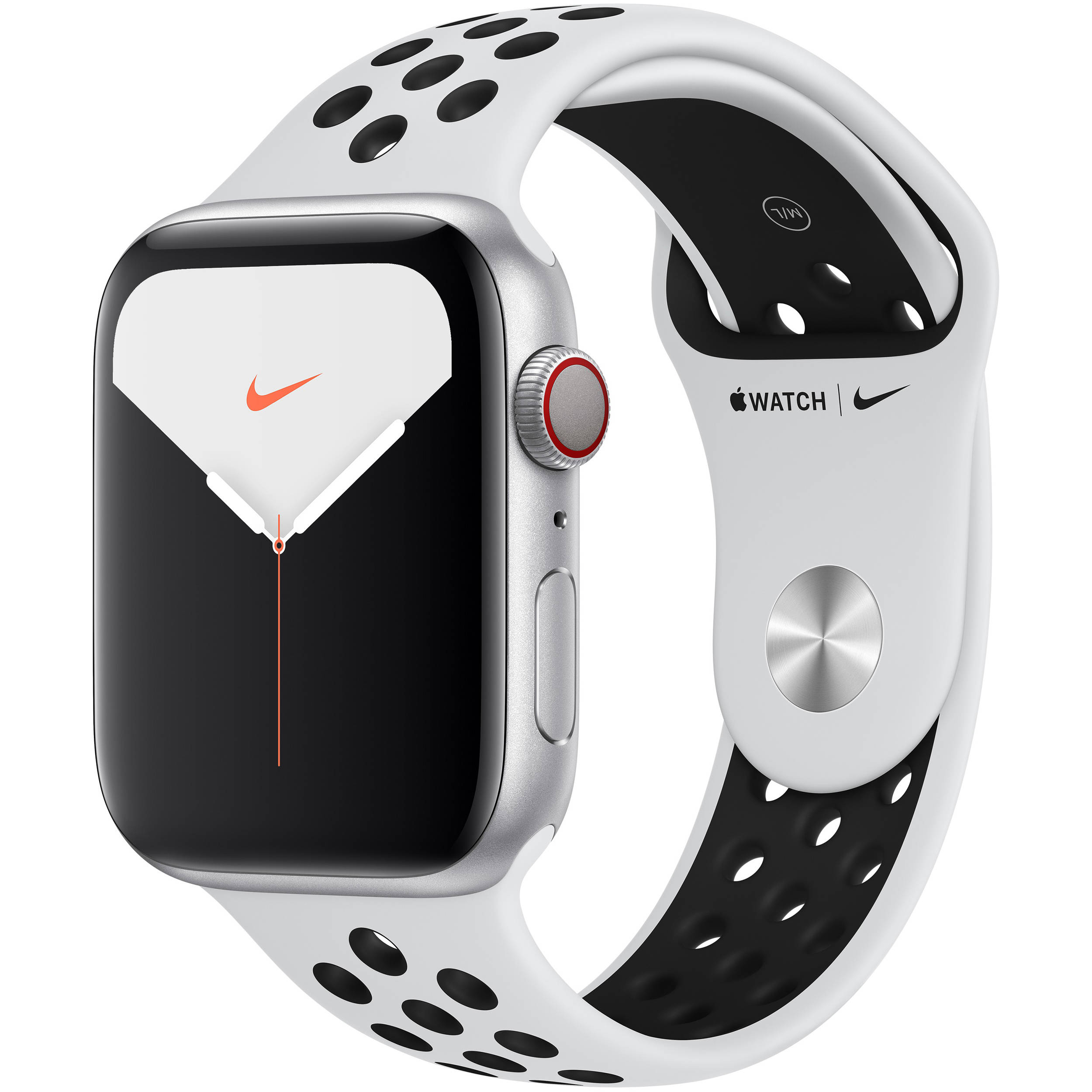 Apple Watch Series 5 (Nike+/GPS + Cell, 44mm, Silver Aluminum, Pure  Platinum/Black Nike Sport Band)