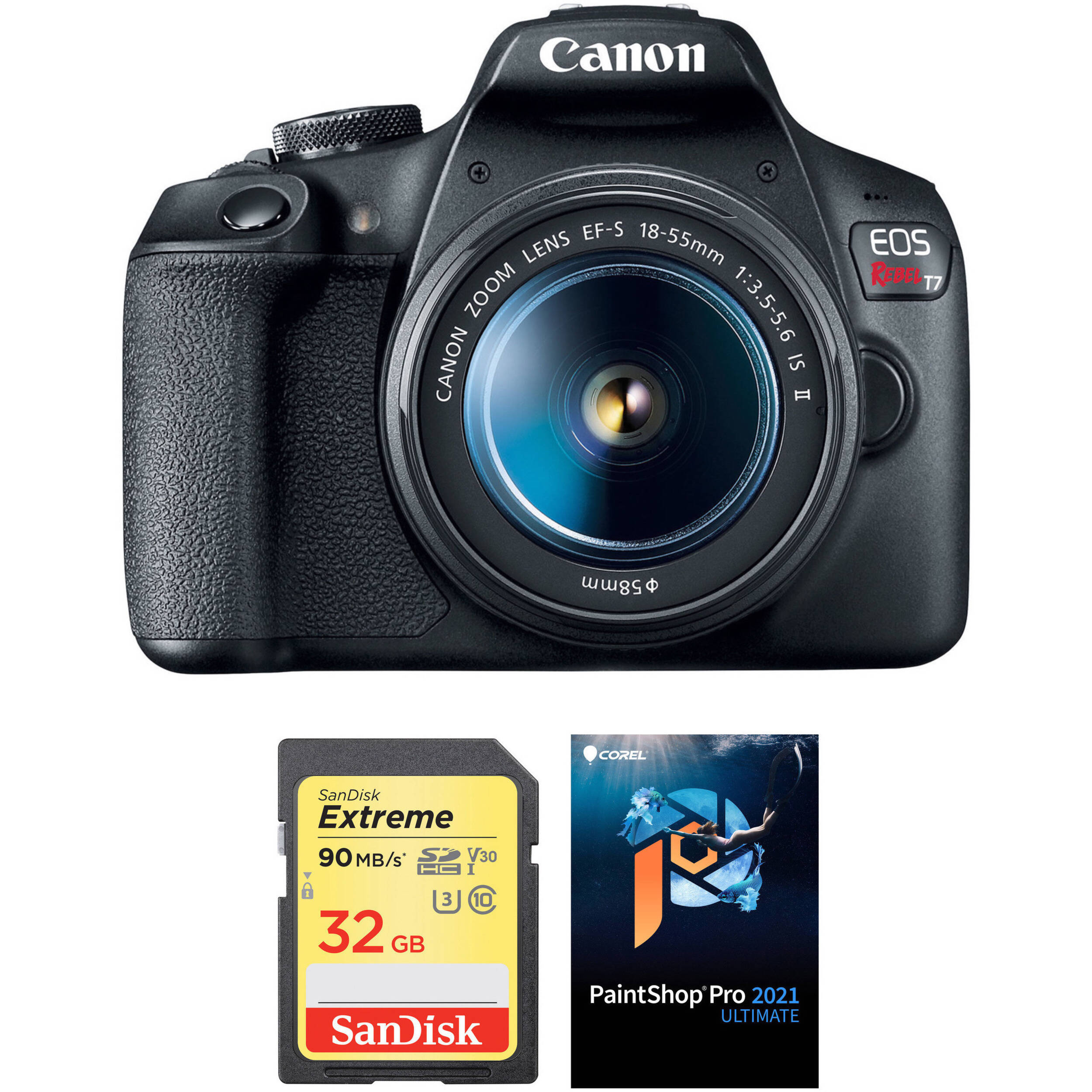 Canon Eos Rebel T7 Dslr Camera With 18 55mm Lens And Accessory Kit