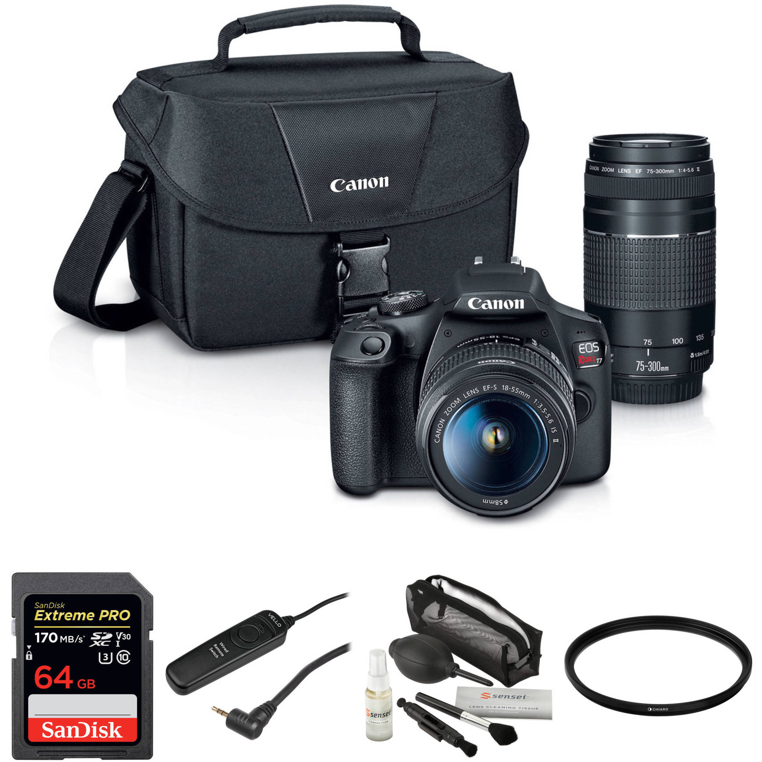 Canon Eos Rebel T7 Dslr Camera With 18 55mm And 75 300mm Lenses Basic Kit