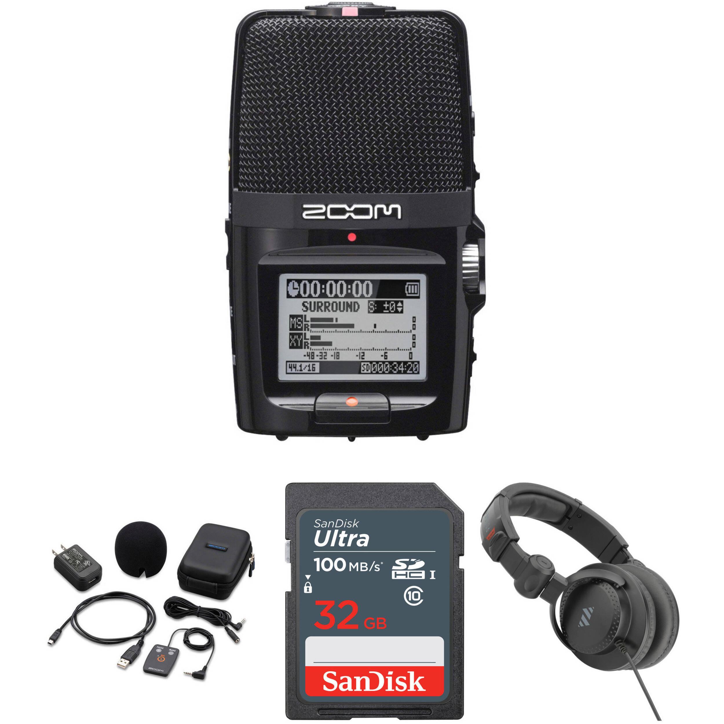 Zoom H2n Handy Handheld Digital Multitrack Recorder Bundle with APH-2n Accessory Pack and Headphones